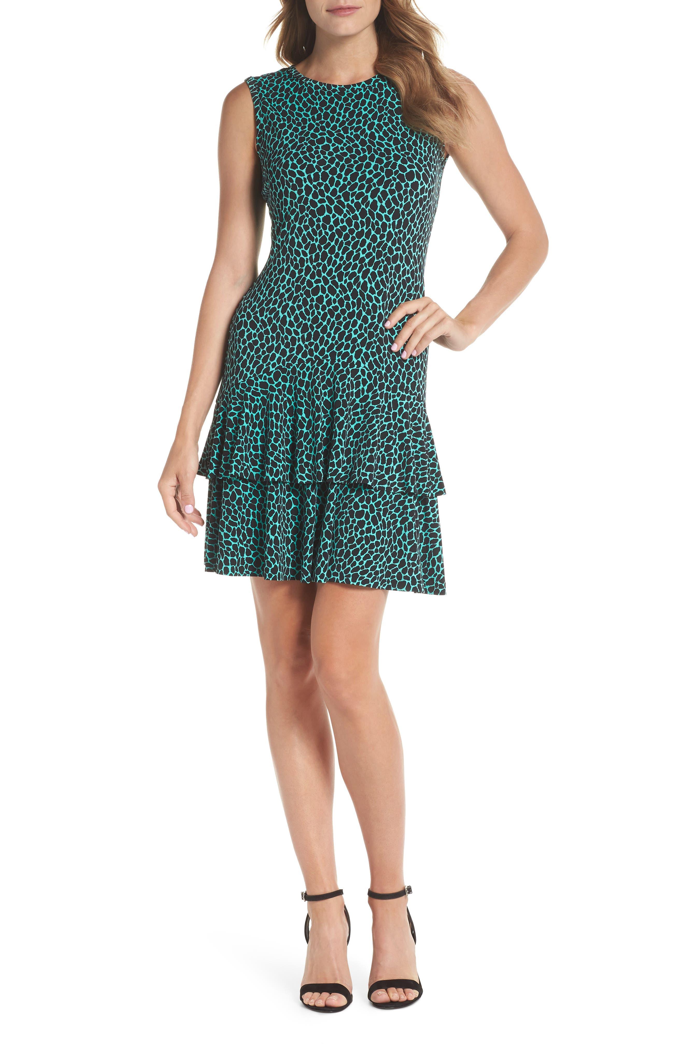 Leopard Print Flounce Hem Dress,                             Main thumbnail 1, color,                             Aqua/ Black