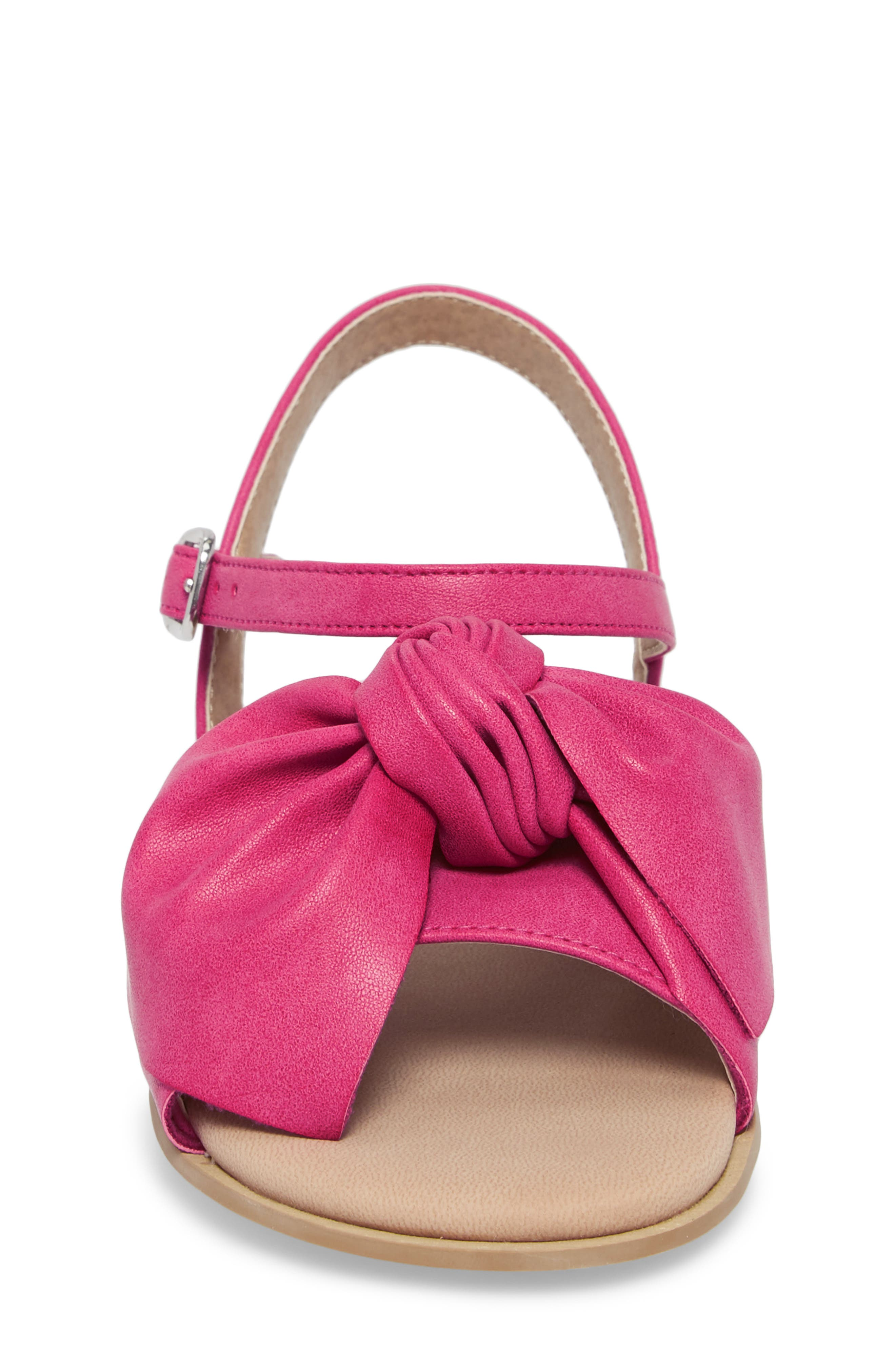 Larissa Knotted Sandal,                             Alternate thumbnail 4, color,                             Fuschia Faux Leather