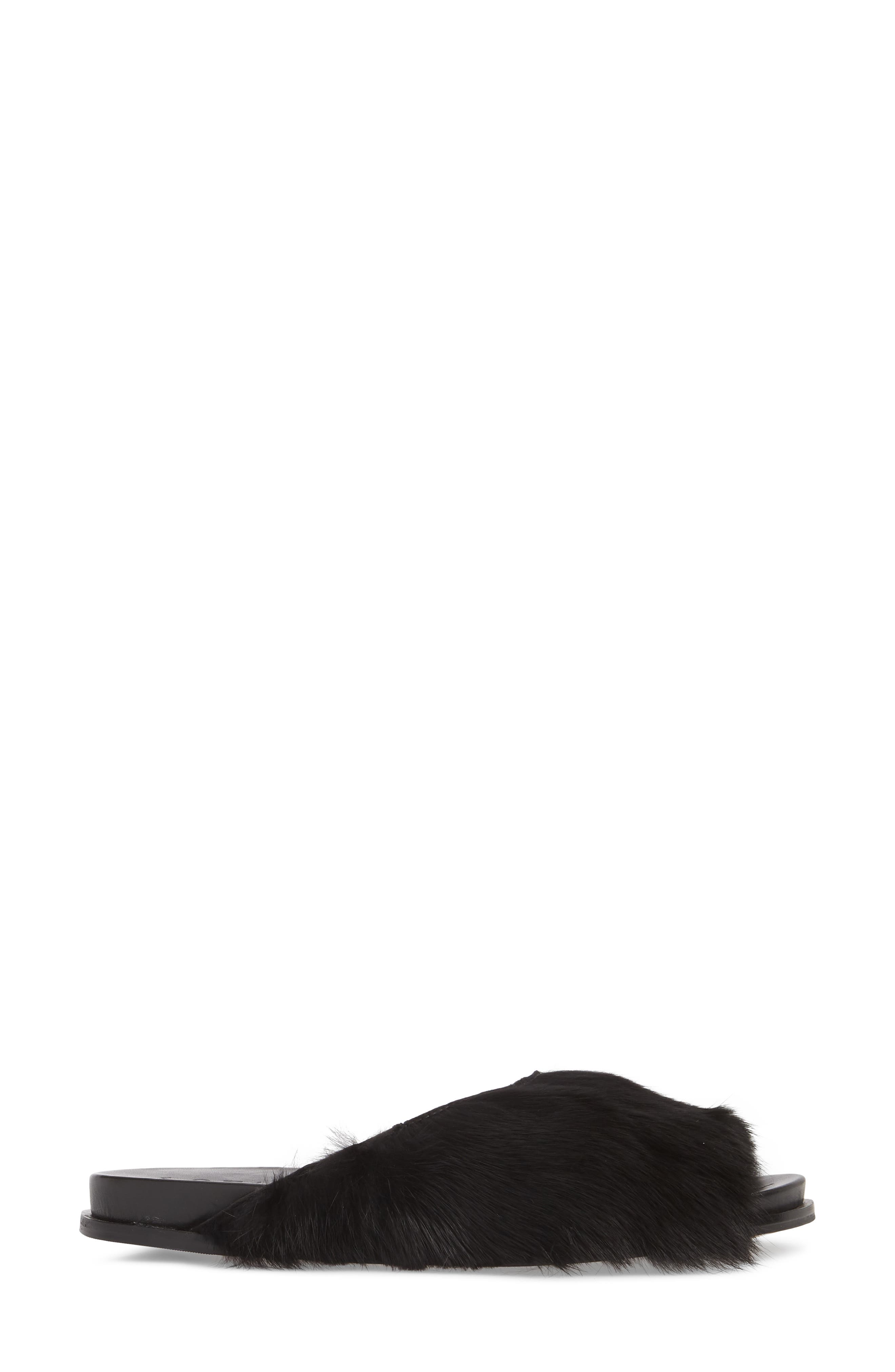 Onora Genuine Rabbit Fur Slide Sandal,                             Alternate thumbnail 3, color,                             Black Rabbit Fur