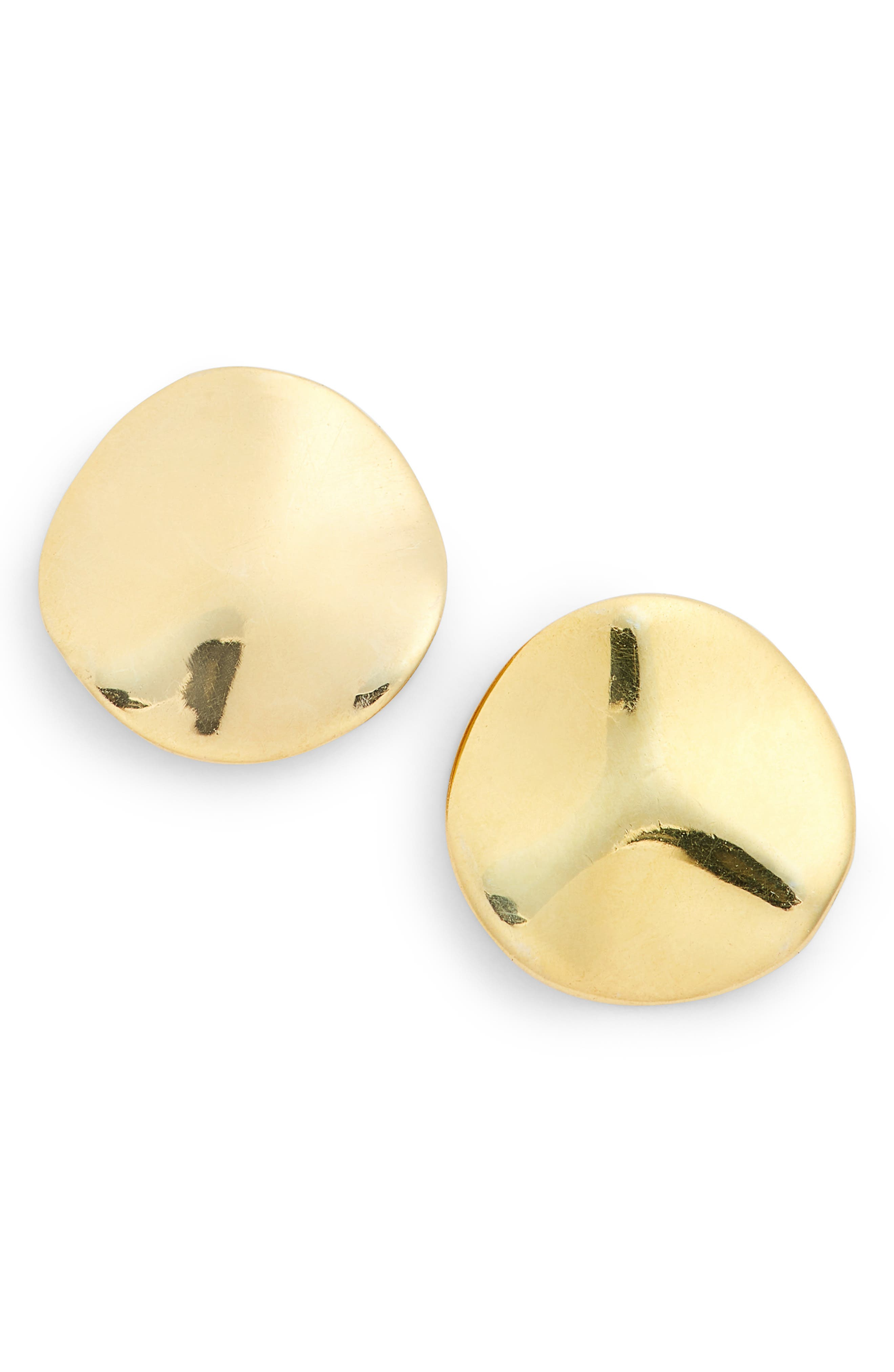 Wavy Disc Stud Earrings,                         Main,                         color, Gold