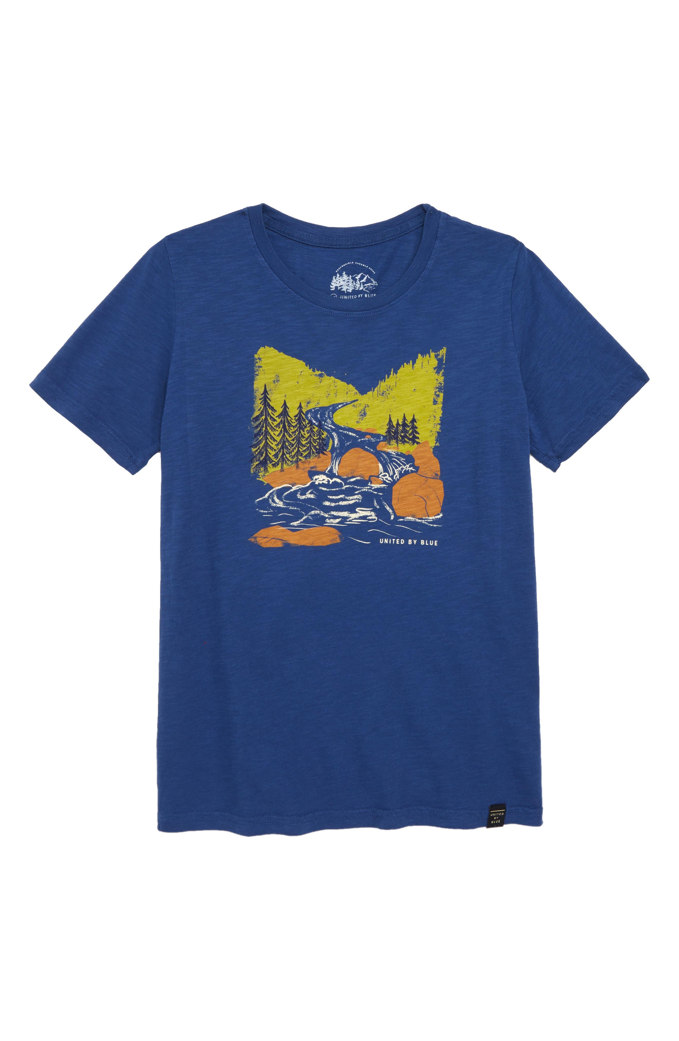 Woodcut River Organic Cotton T-Shirt,                             Main thumbnail 1, color,                             Navy