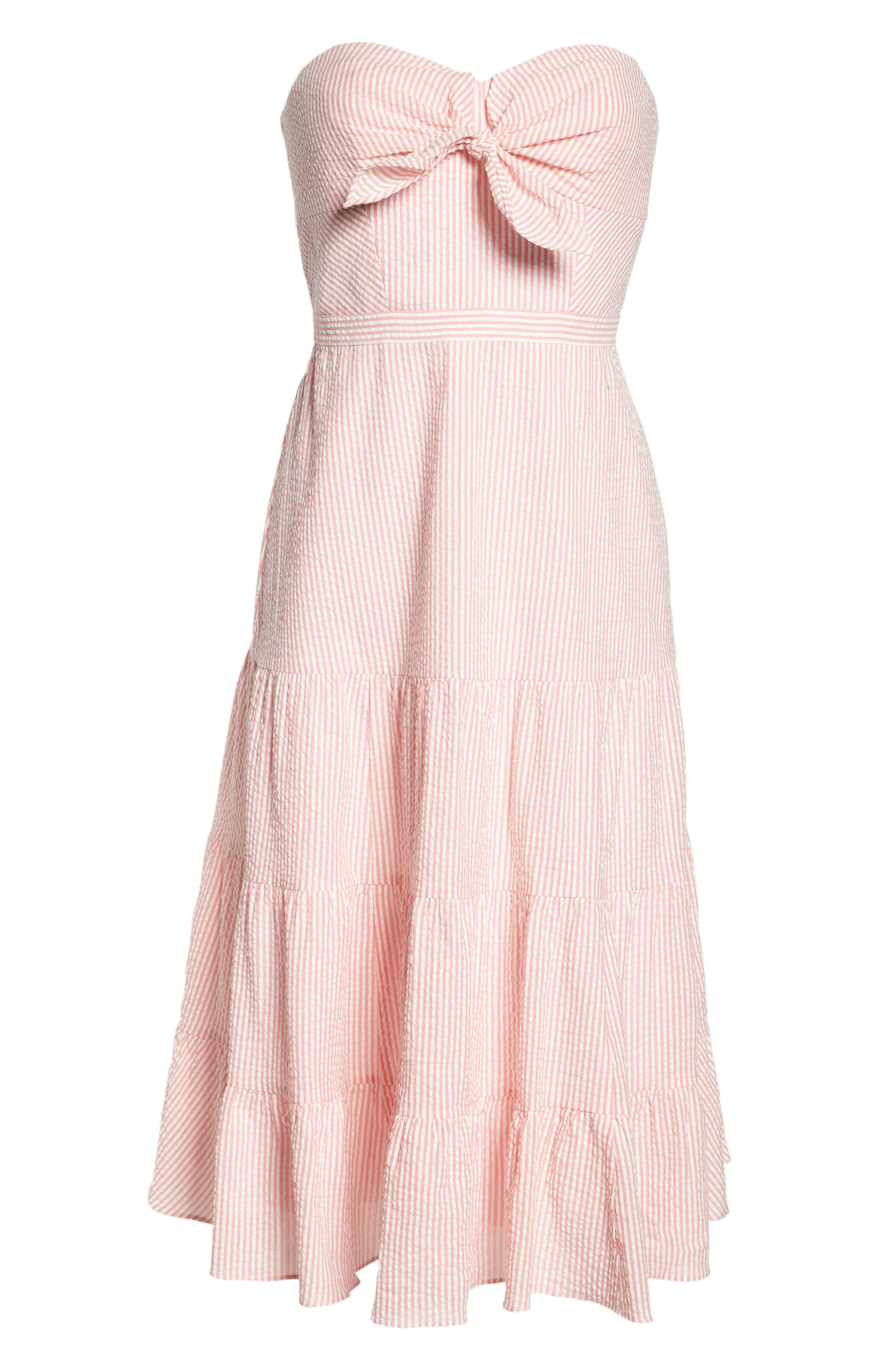 J.Crew Tie Front Strapless Dress,                             Alternate thumbnail 7, color,                             Bright Coral