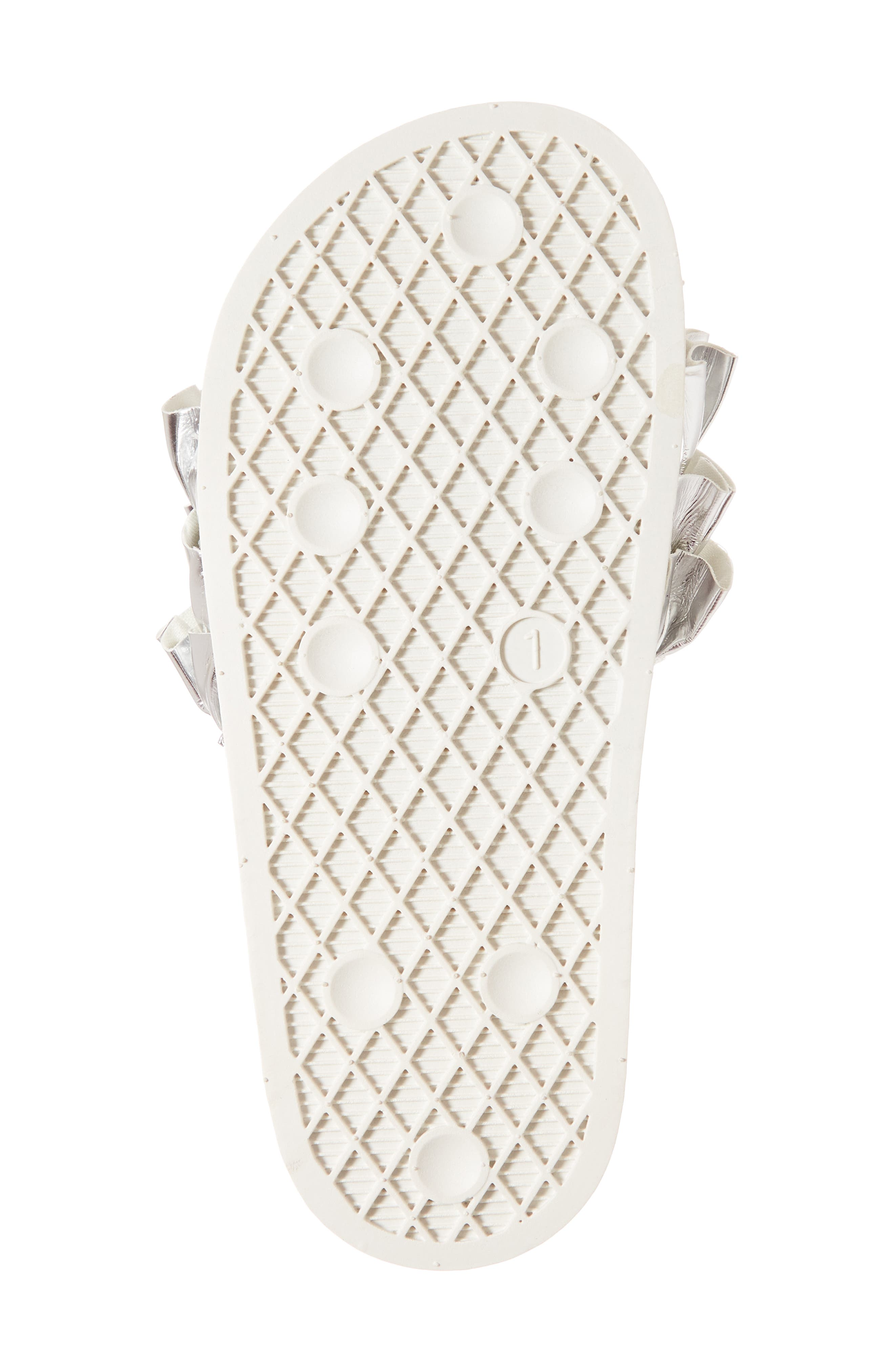 Metallic Ruffle Slide Sandal,                             Alternate thumbnail 6, color,                             Silver Faux Leather