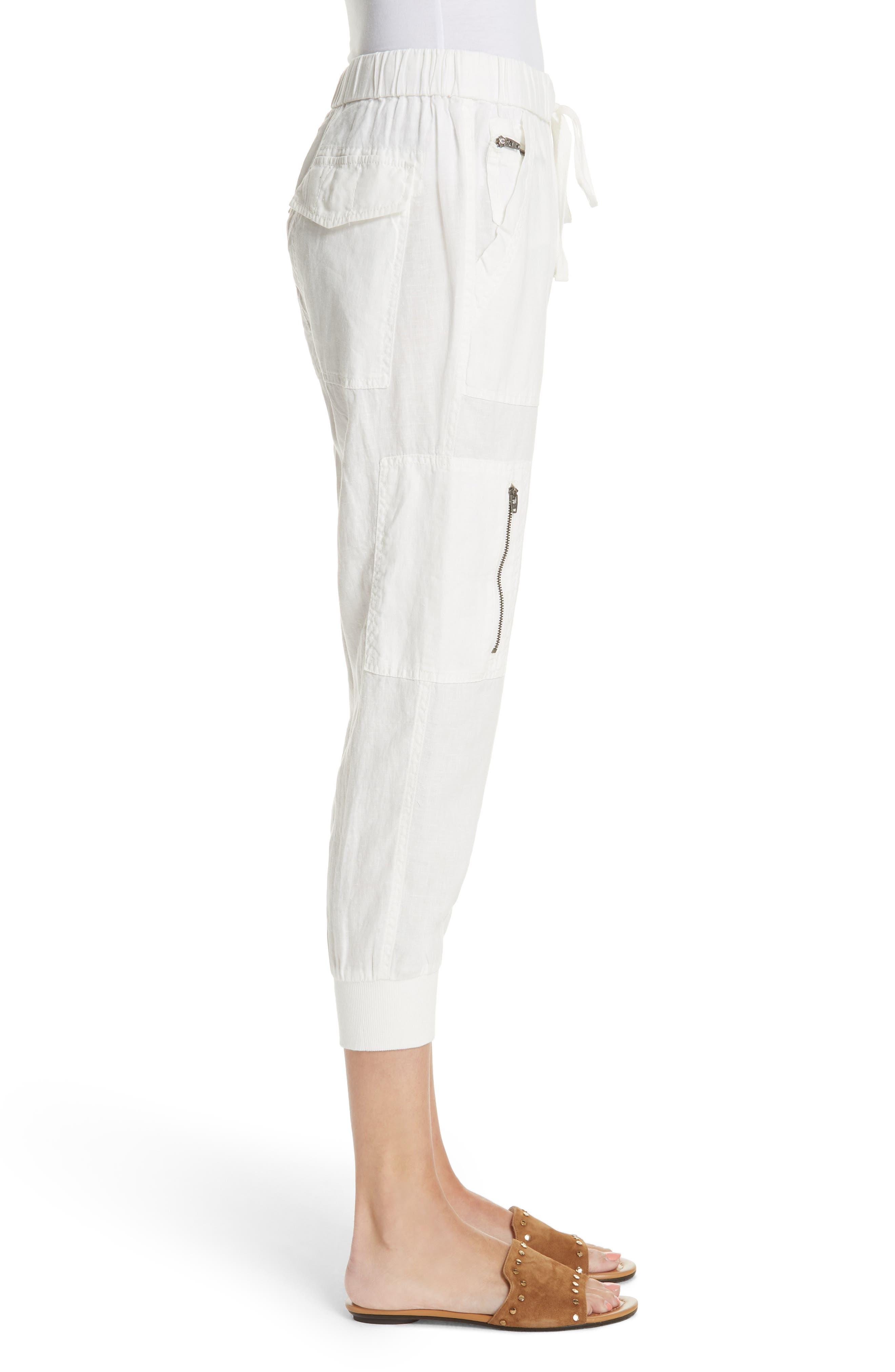 Florimel Crop Linen Jogger Pants,                             Alternate thumbnail 3, color,                             Porcelain