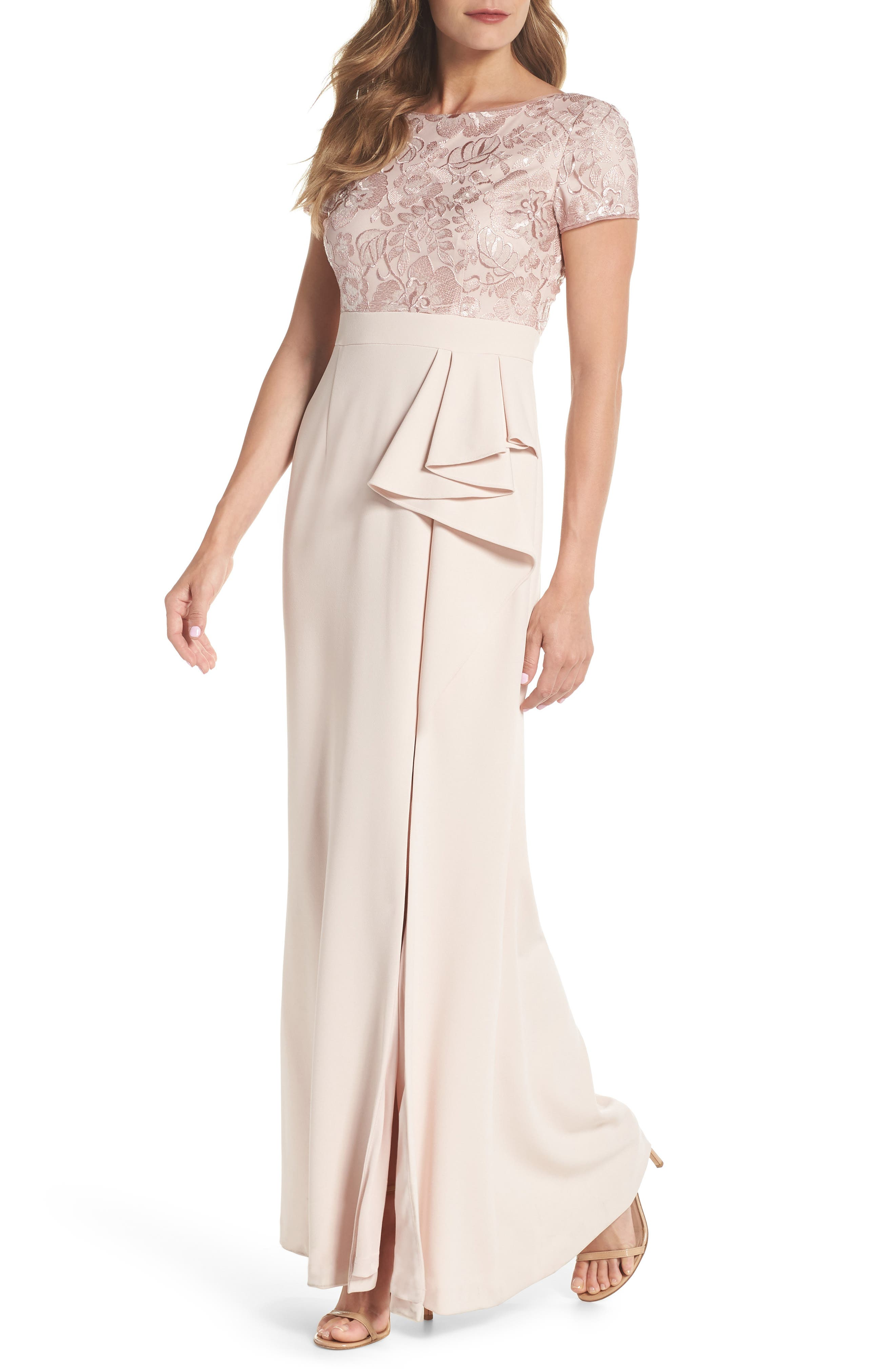 Embroidered Bodice Mermaid Gown,                         Main,                         color, Blush