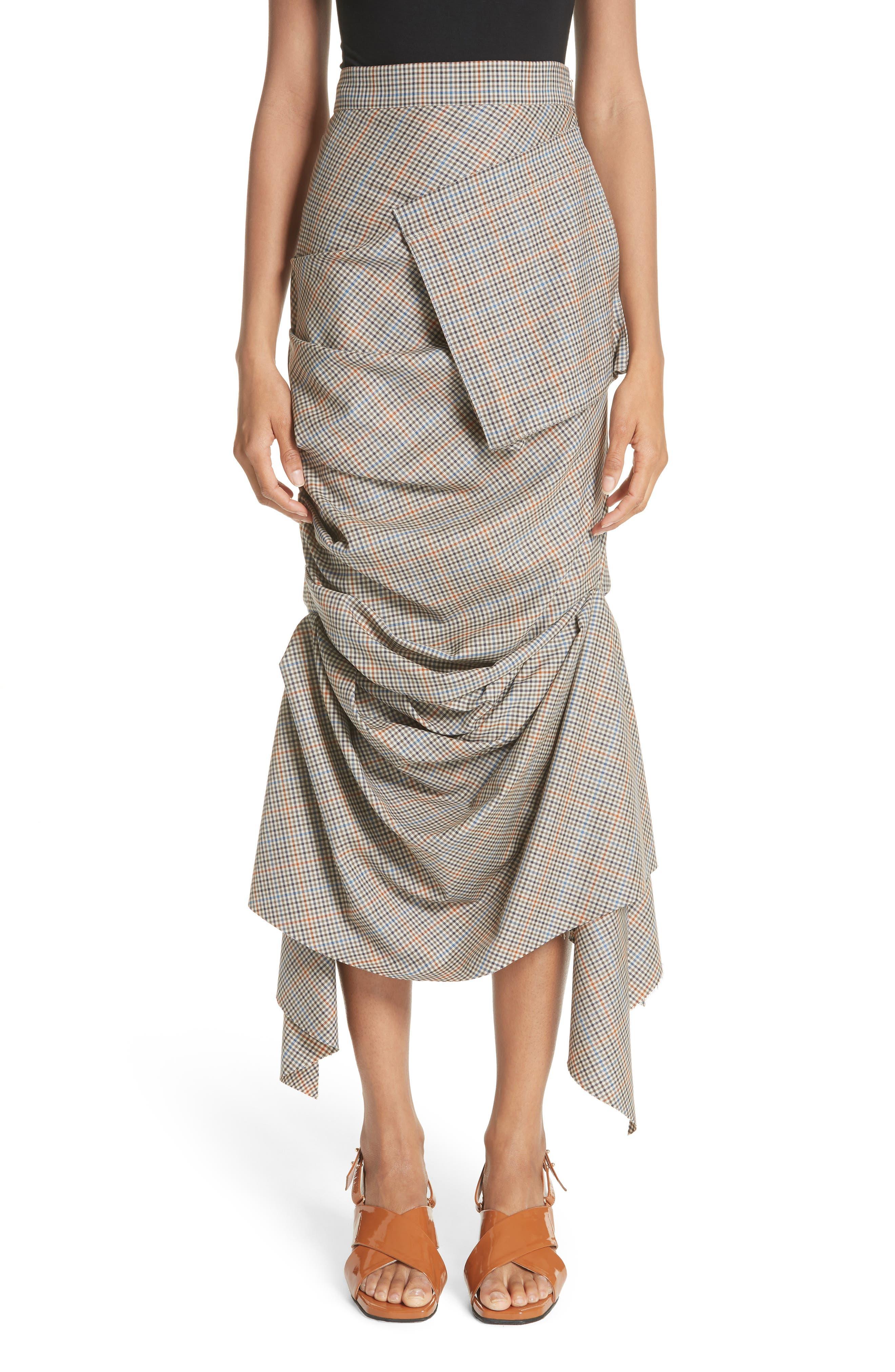 A.W.A.K.E. Draped Plaid Wool Skirt