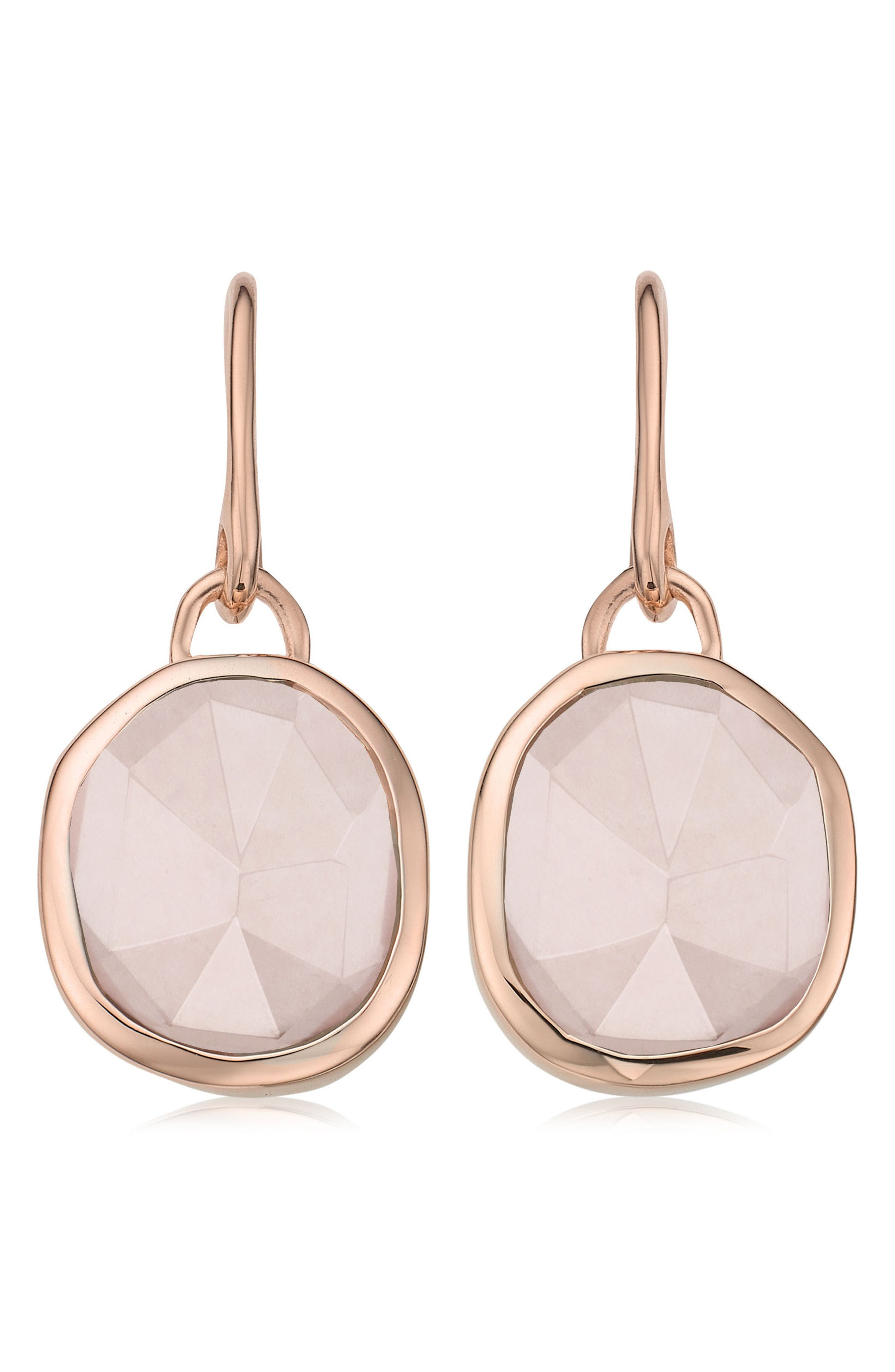 Siren Semiprecious Stone Drop Earrings,                             Main thumbnail 1, color,                             Rose Gold/ Rose Quartz