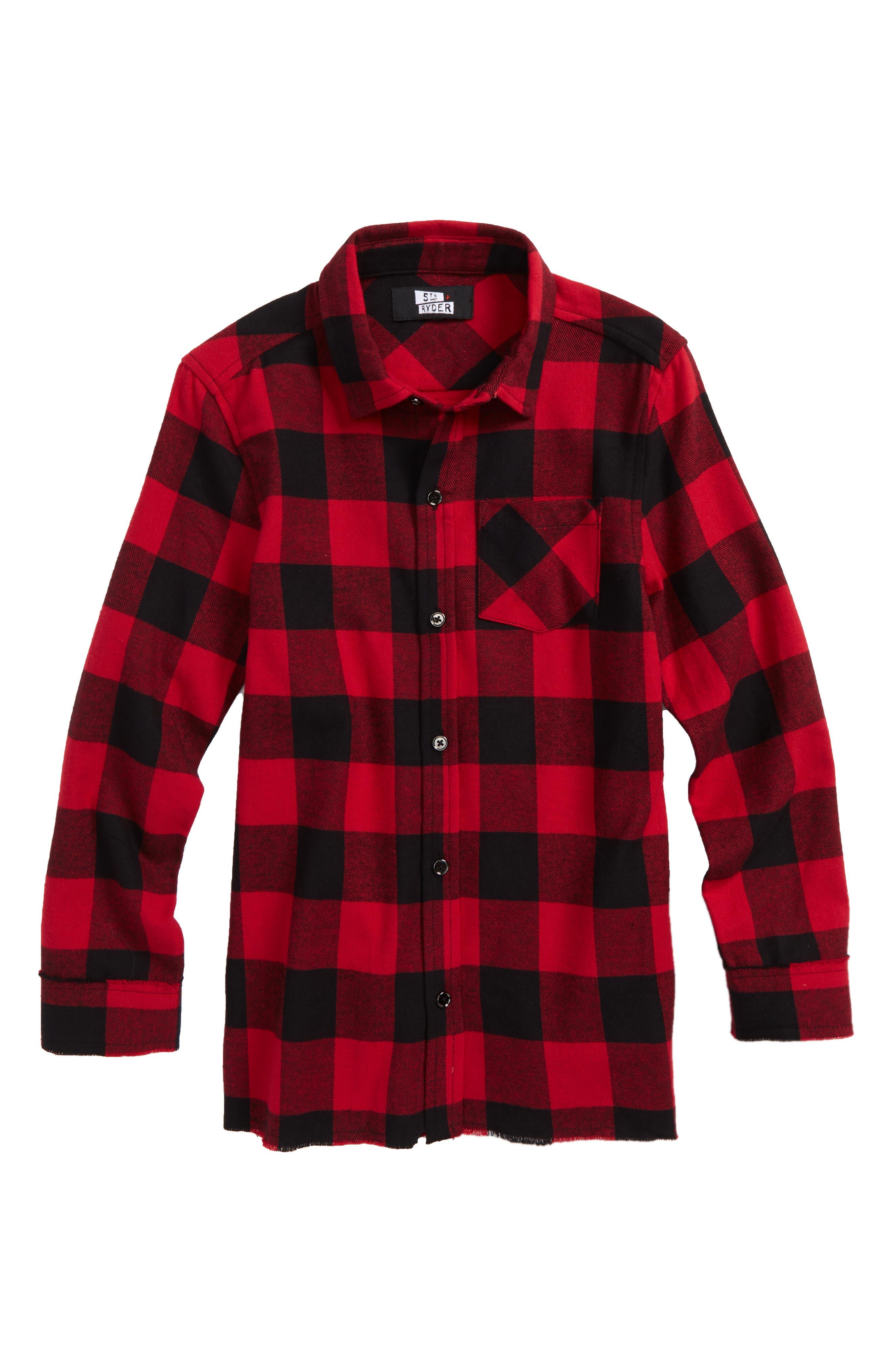 Buffalo Check Woven Shirt,                         Main,                         color, Red Plaid