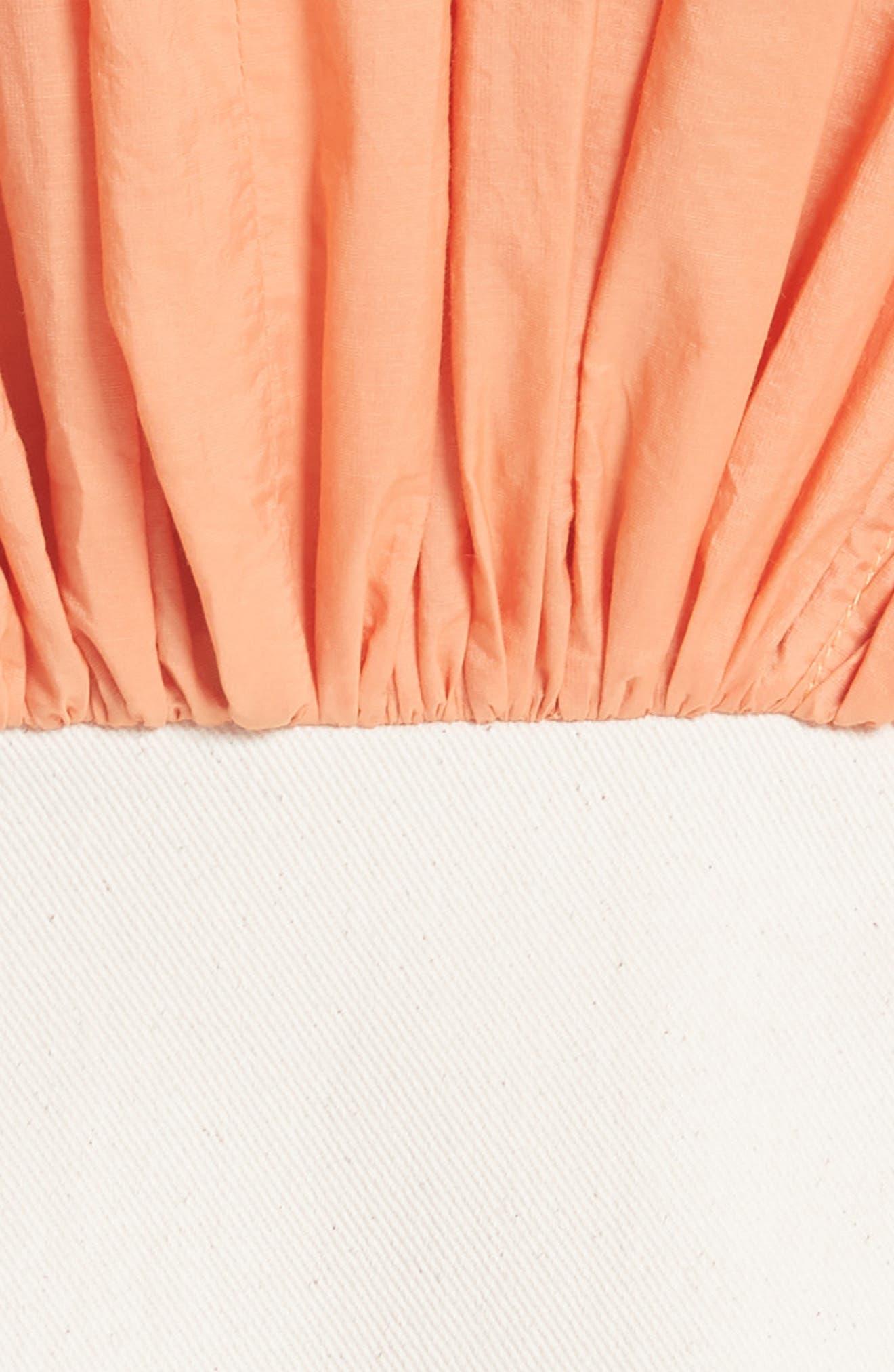 Yana Bicolor Dress,                             Alternate thumbnail 5, color,                             Cotton Orange/ Denim Ecru