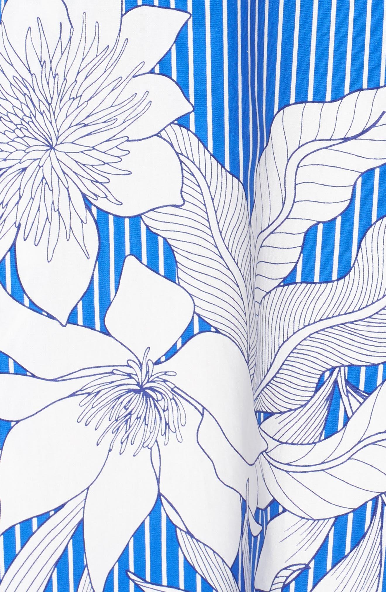 Print Poplin Fit & Flare Dress,                             Alternate thumbnail 6, color,                             Soft White/ Blue