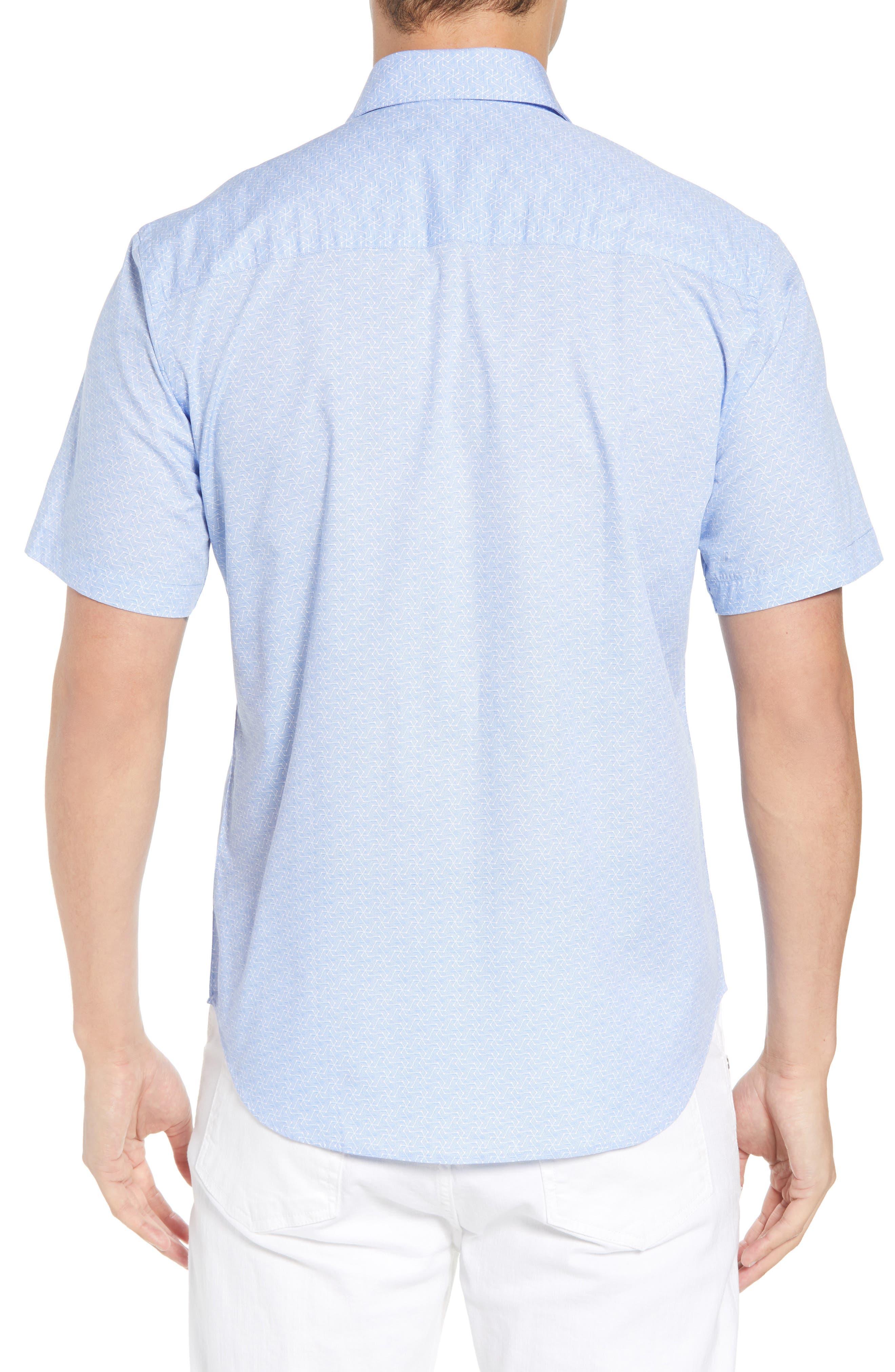 Acton Regular Fit Geo Print Sport Shirt,                             Alternate thumbnail 3, color,                             Light Blue