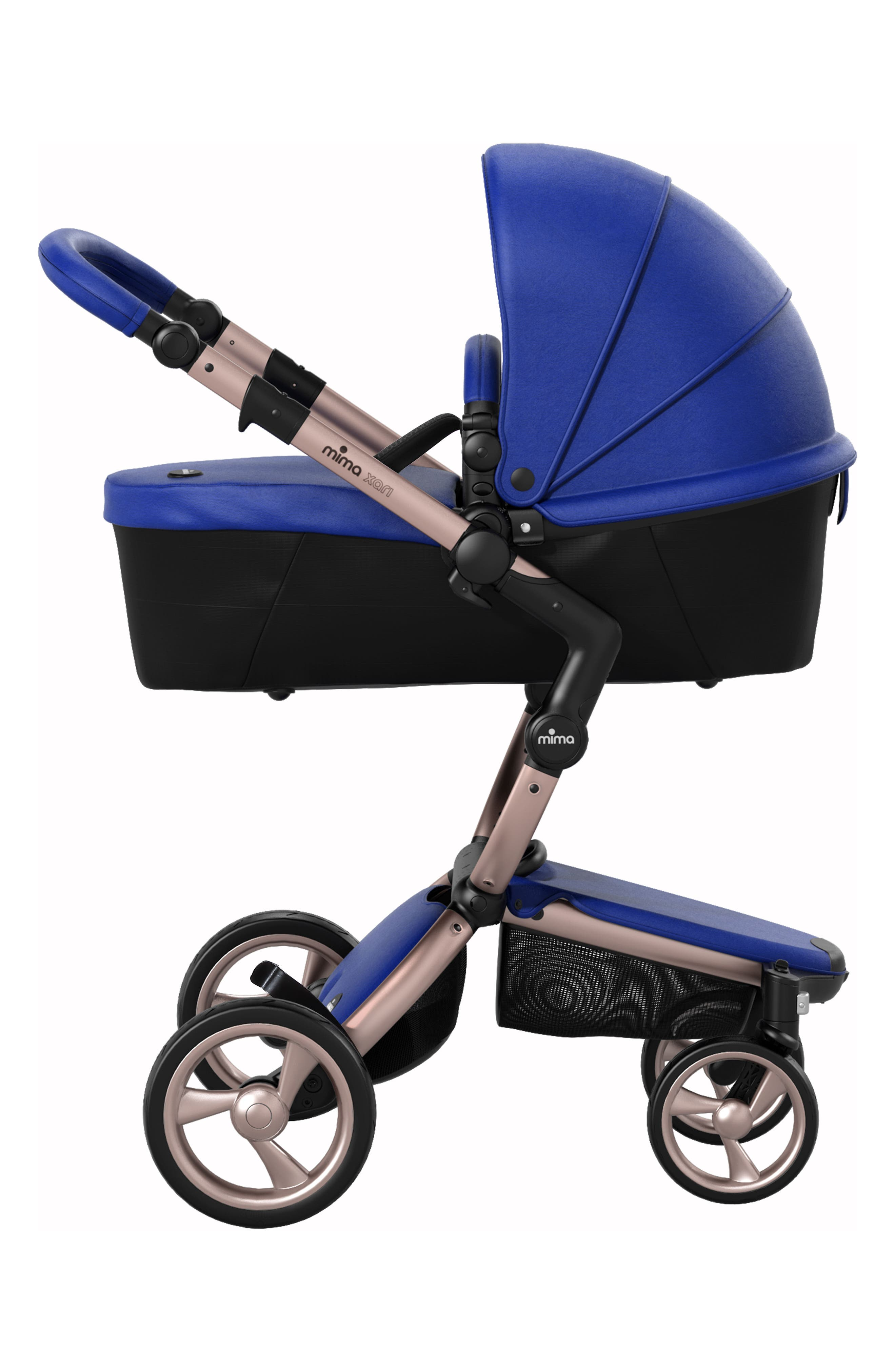 Xari Rose Gold Chassis Stroller with Reversible Reclining Seat & Carrycot,                             Alternate thumbnail 4, color,                             Royal Blue/ Black