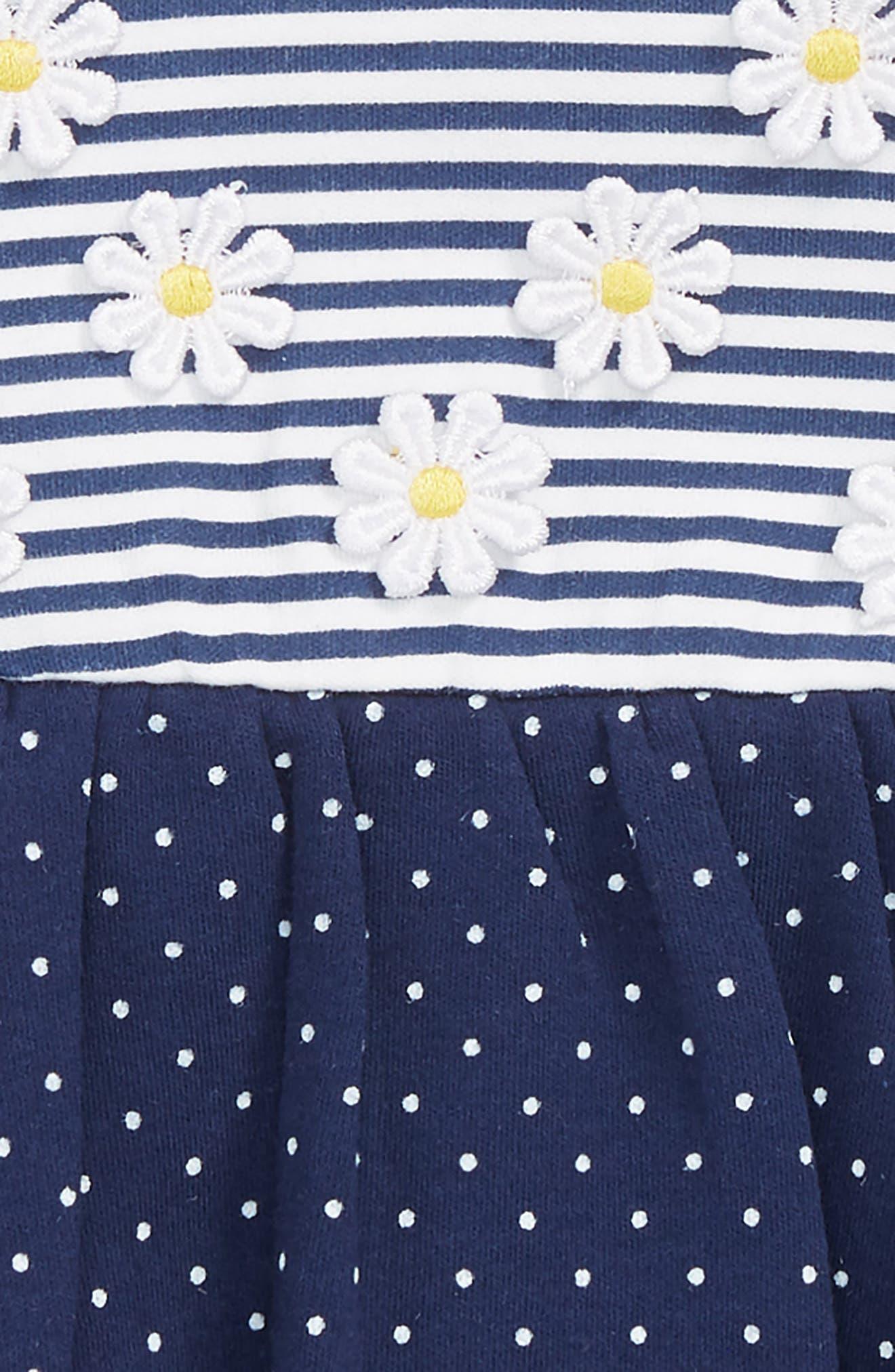 Daisy Dots Popover Bodysuit & Sun Hat Set,                             Alternate thumbnail 2, color,                             Navy