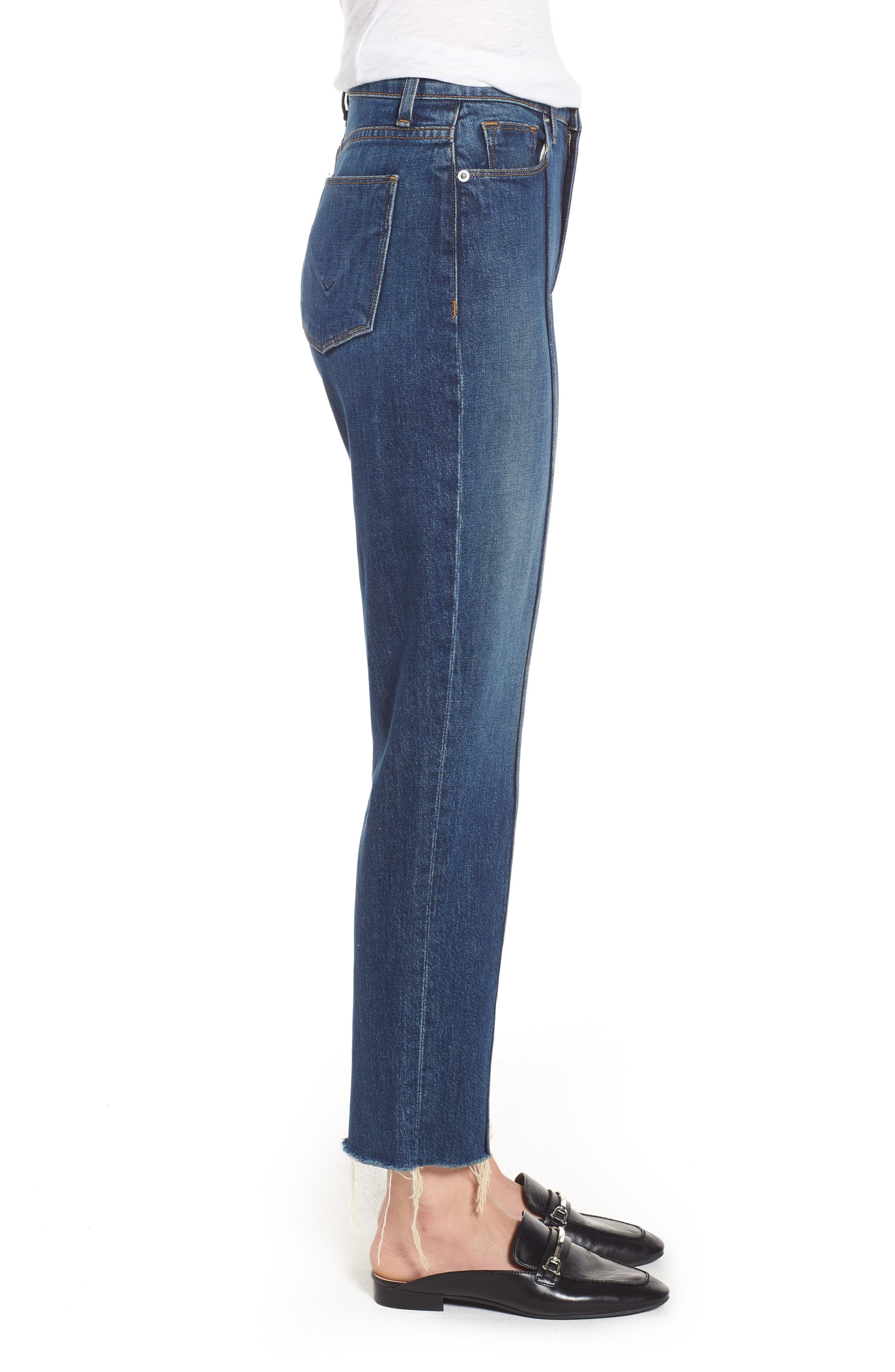 Zoeey High Waist Crop Straight Leg Jeans,                             Alternate thumbnail 3, color,                             Demeanor