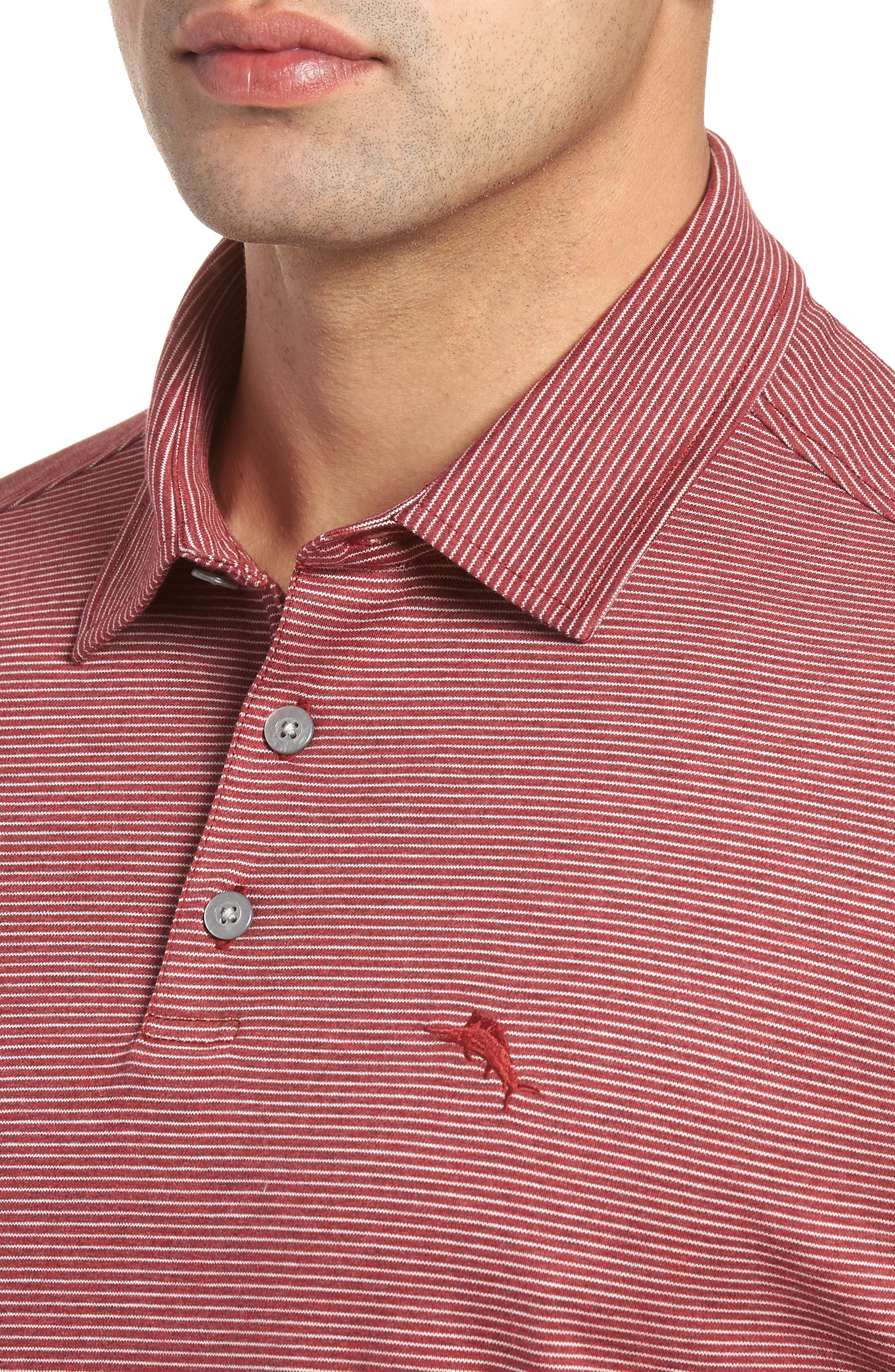 Pacific Shore Polo,                             Alternate thumbnail 4, color,                             Beet Red Heather