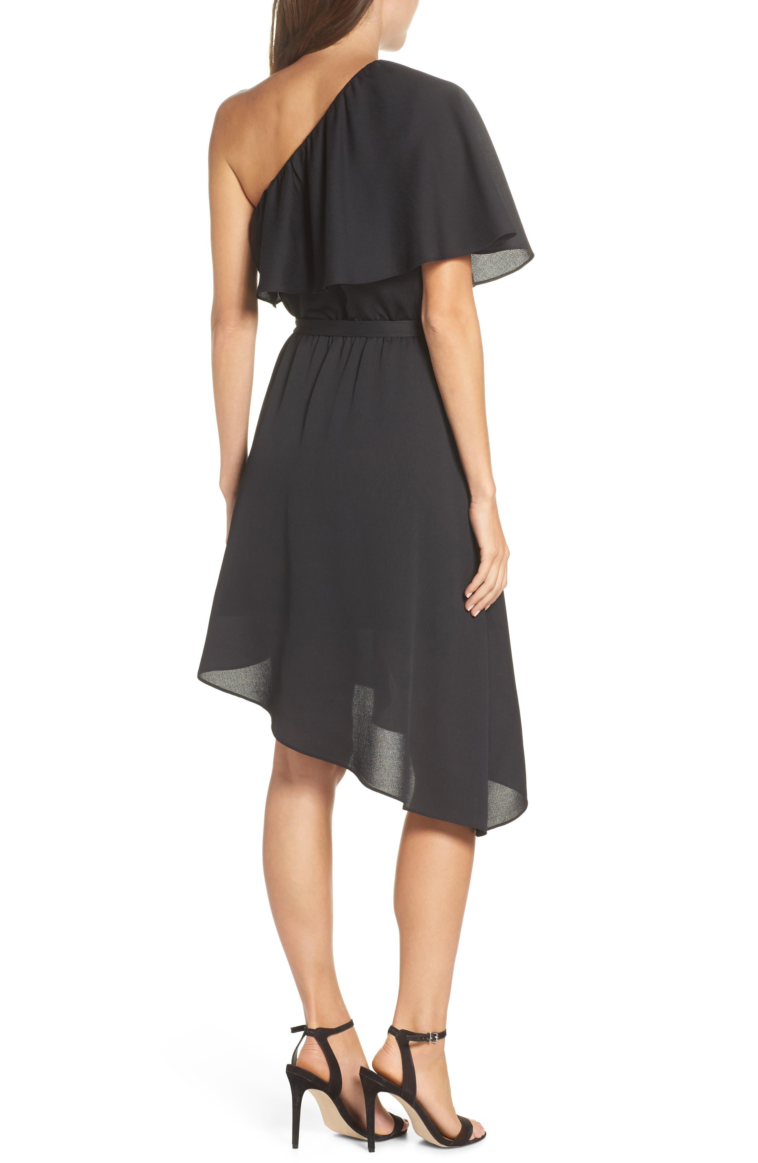 One-Shoulder Asymmetrical Dress,                             Alternate thumbnail 2, color,                             Black