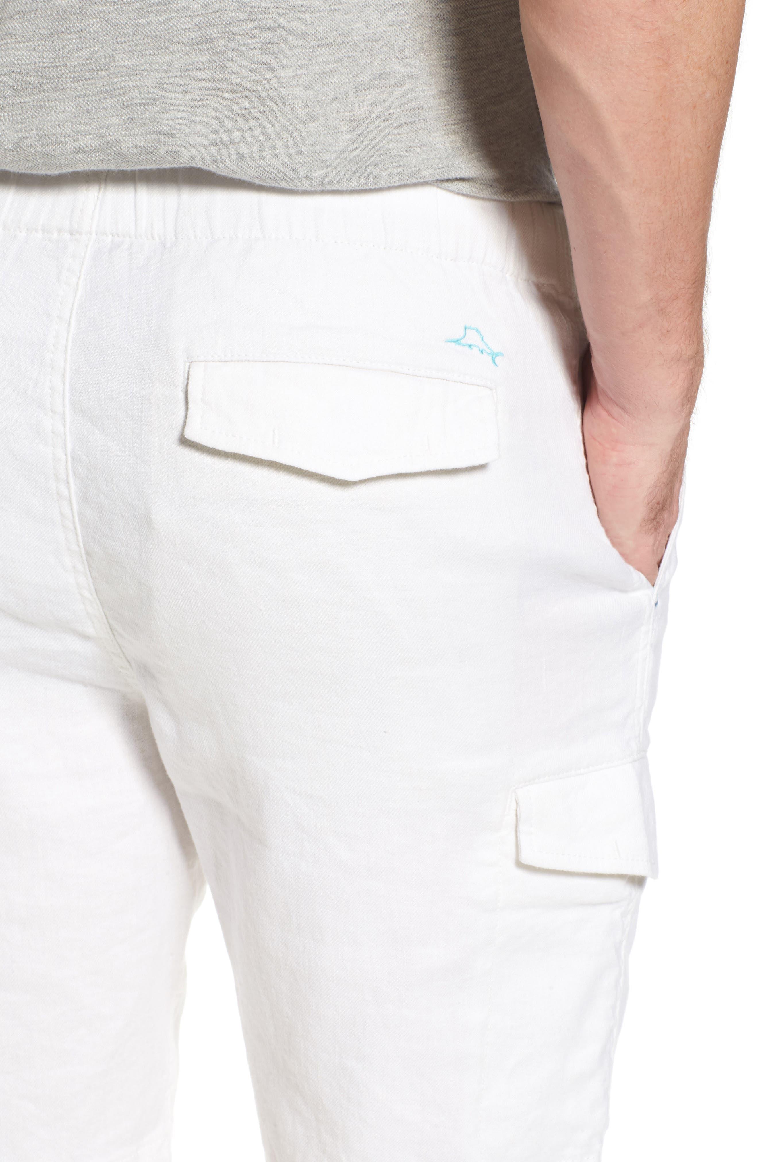 Beach Linen Blend Cargo Shorts,                             Alternate thumbnail 4, color,                             Continental