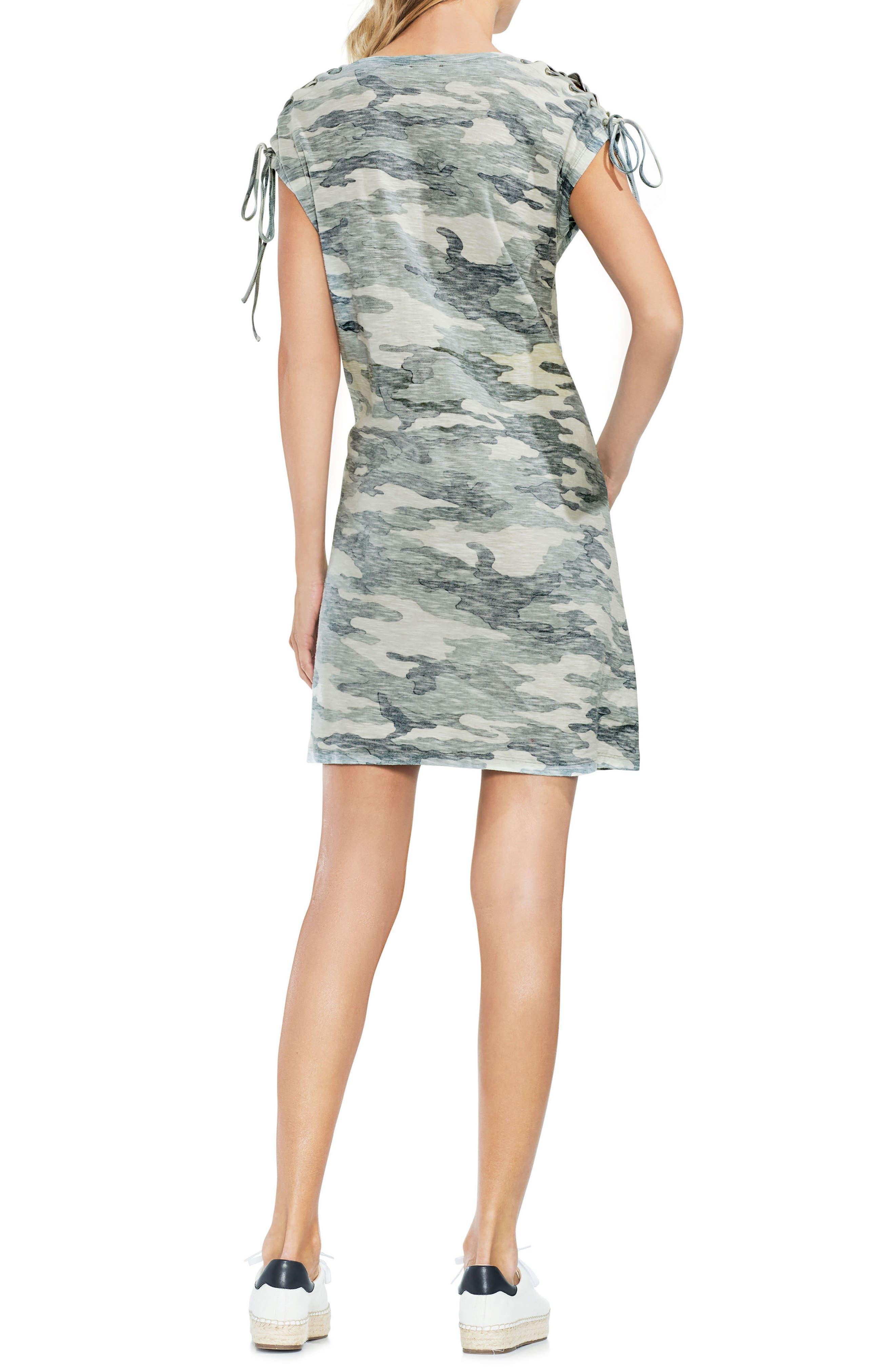Lace-Up Shoulder Camo Dress,                             Alternate thumbnail 2, color,                             Canopy Green