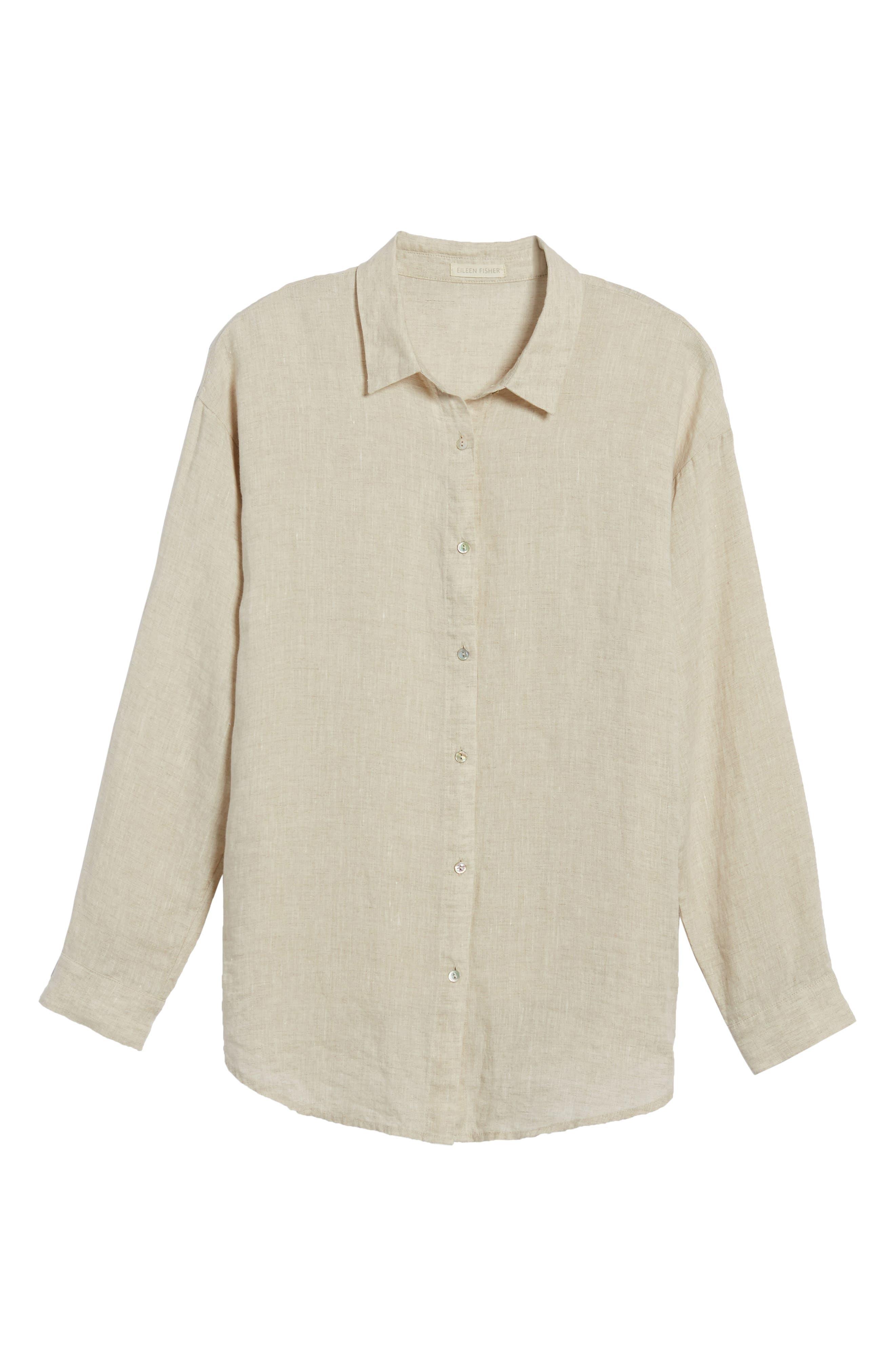 Organic Linen Shirt,                             Alternate thumbnail 7, color,                             Natural