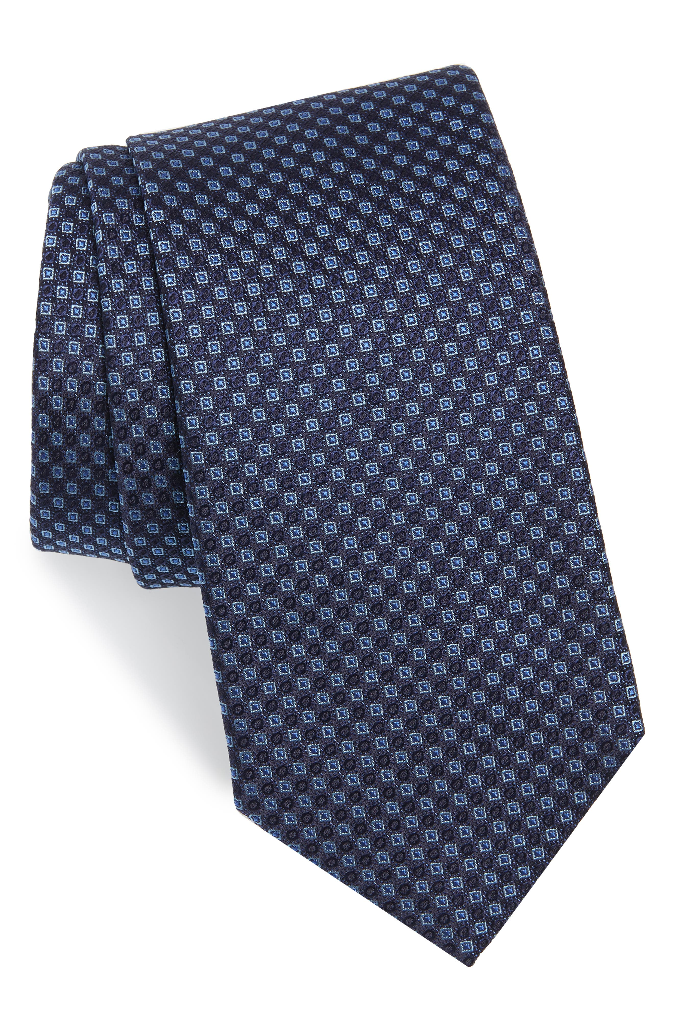 Enna Neat Silk Tie,                         Main,                         color, Navy