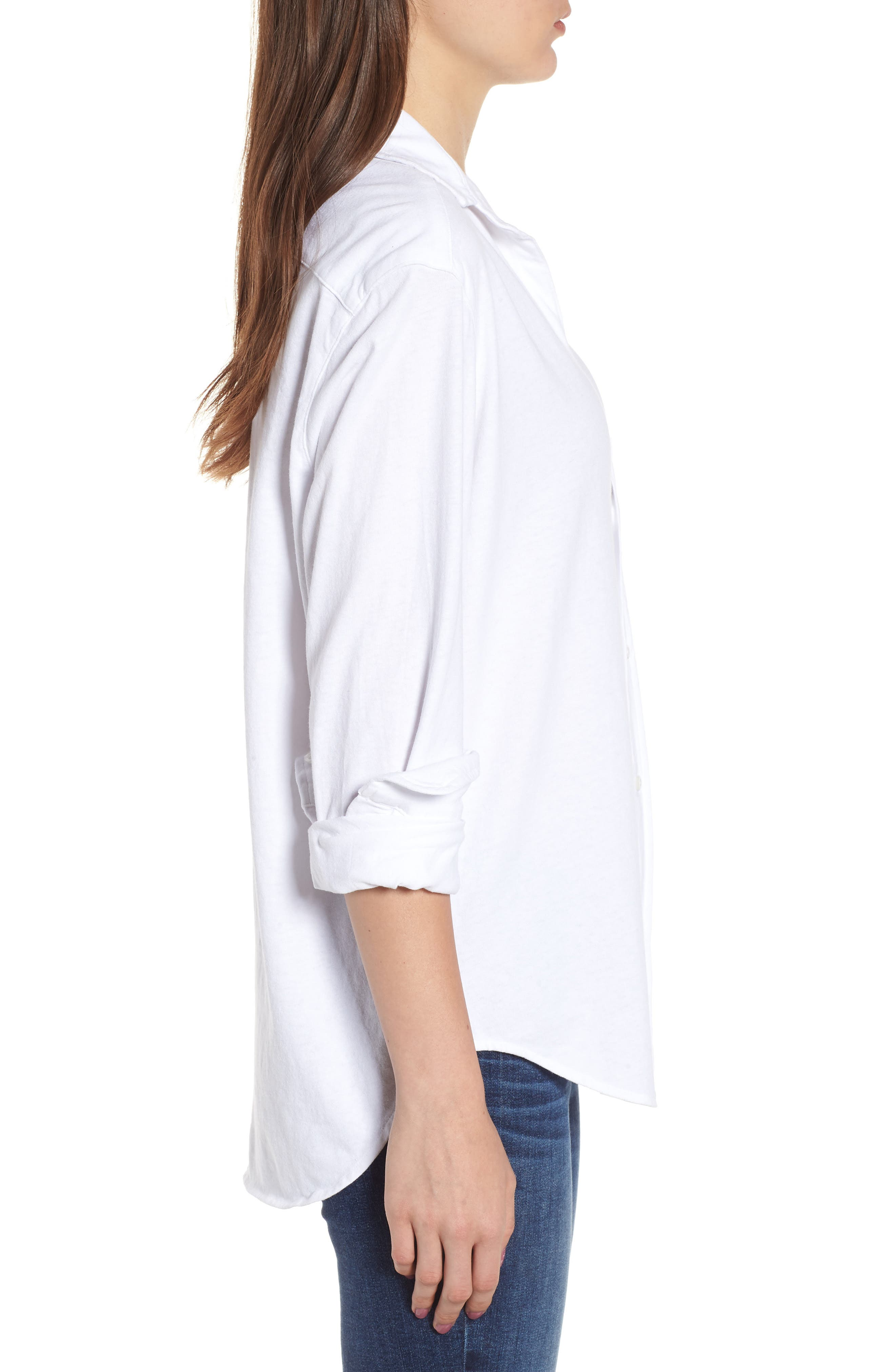 Button Front Jersey Shirt,                             Alternate thumbnail 3, color,                             Whiteout