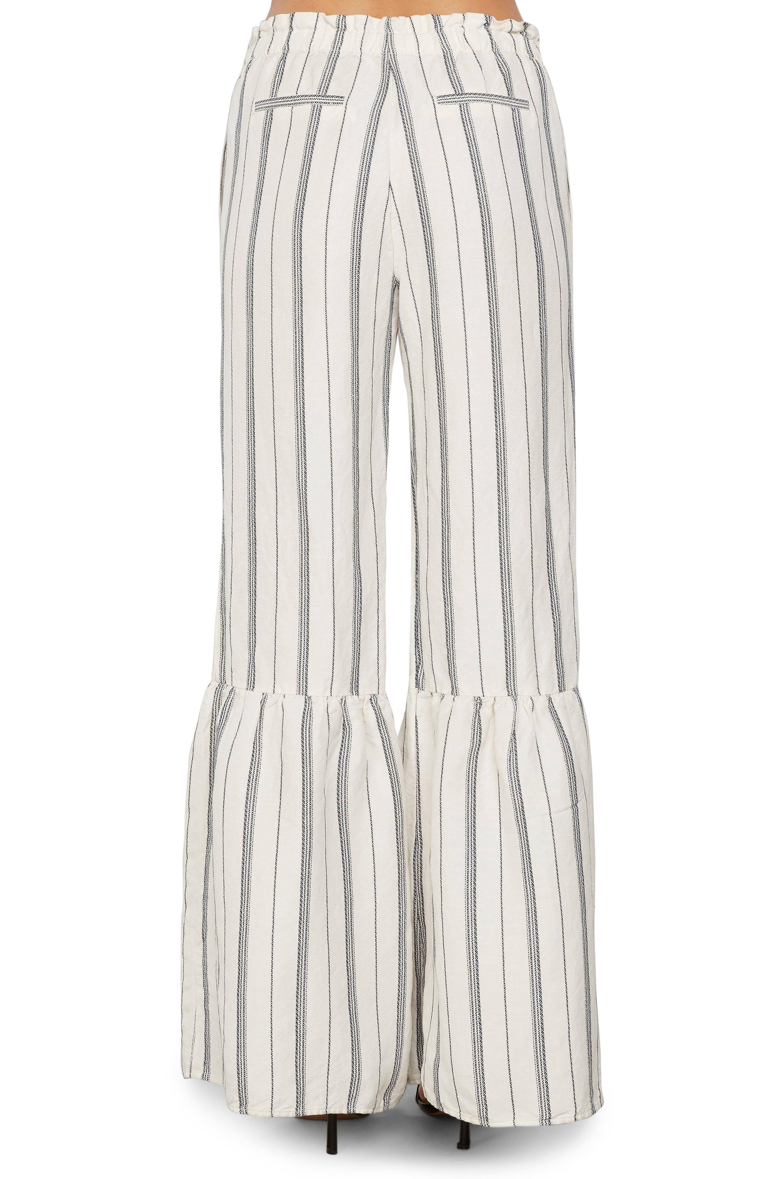 Stripe Ruffle Flare Pants,                             Alternate thumbnail 2, color,                             Ivory