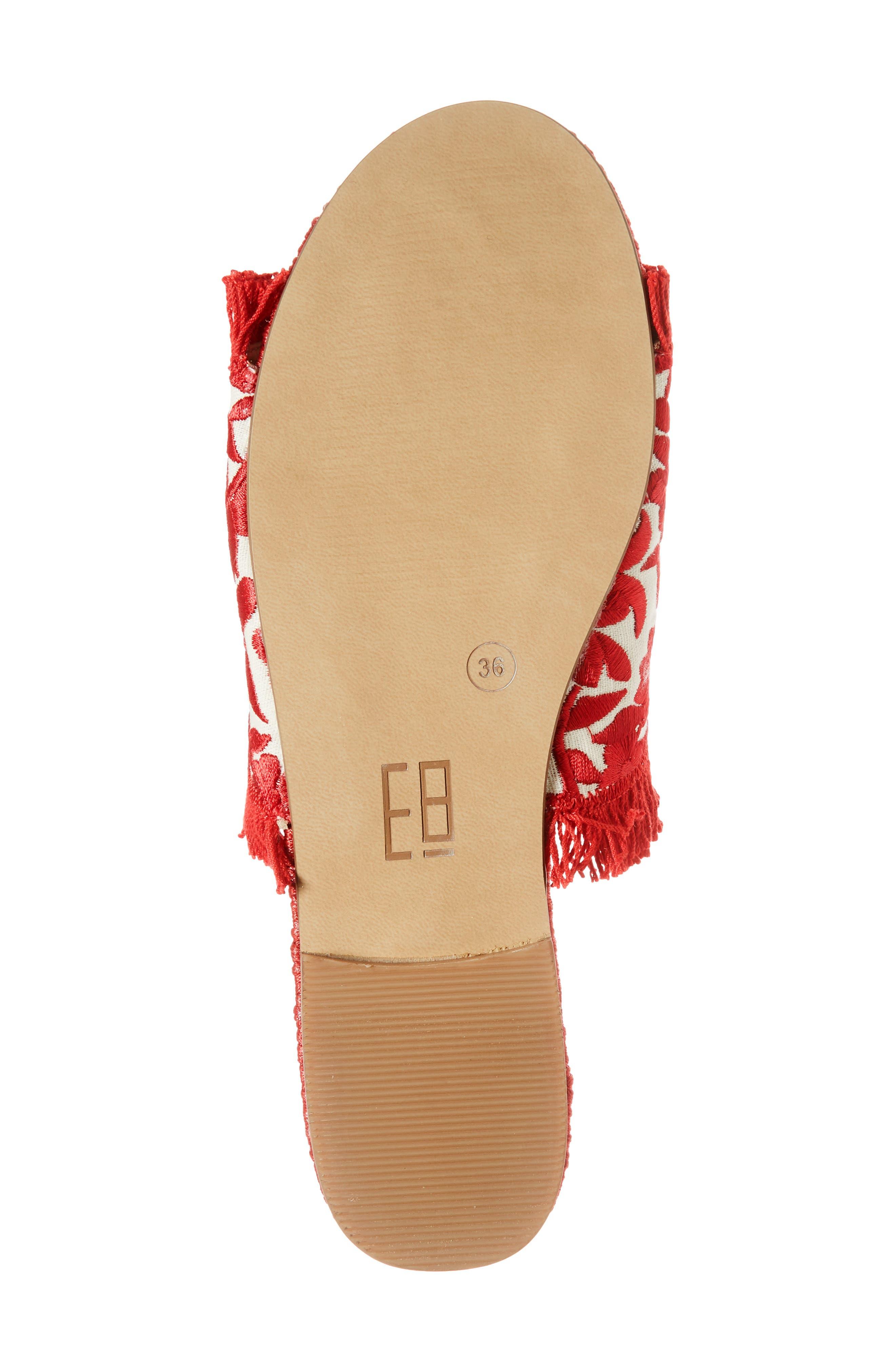 Tavie Fringed Slide Sandal,                             Alternate thumbnail 6, color,                             Red/ Cream Fabric
