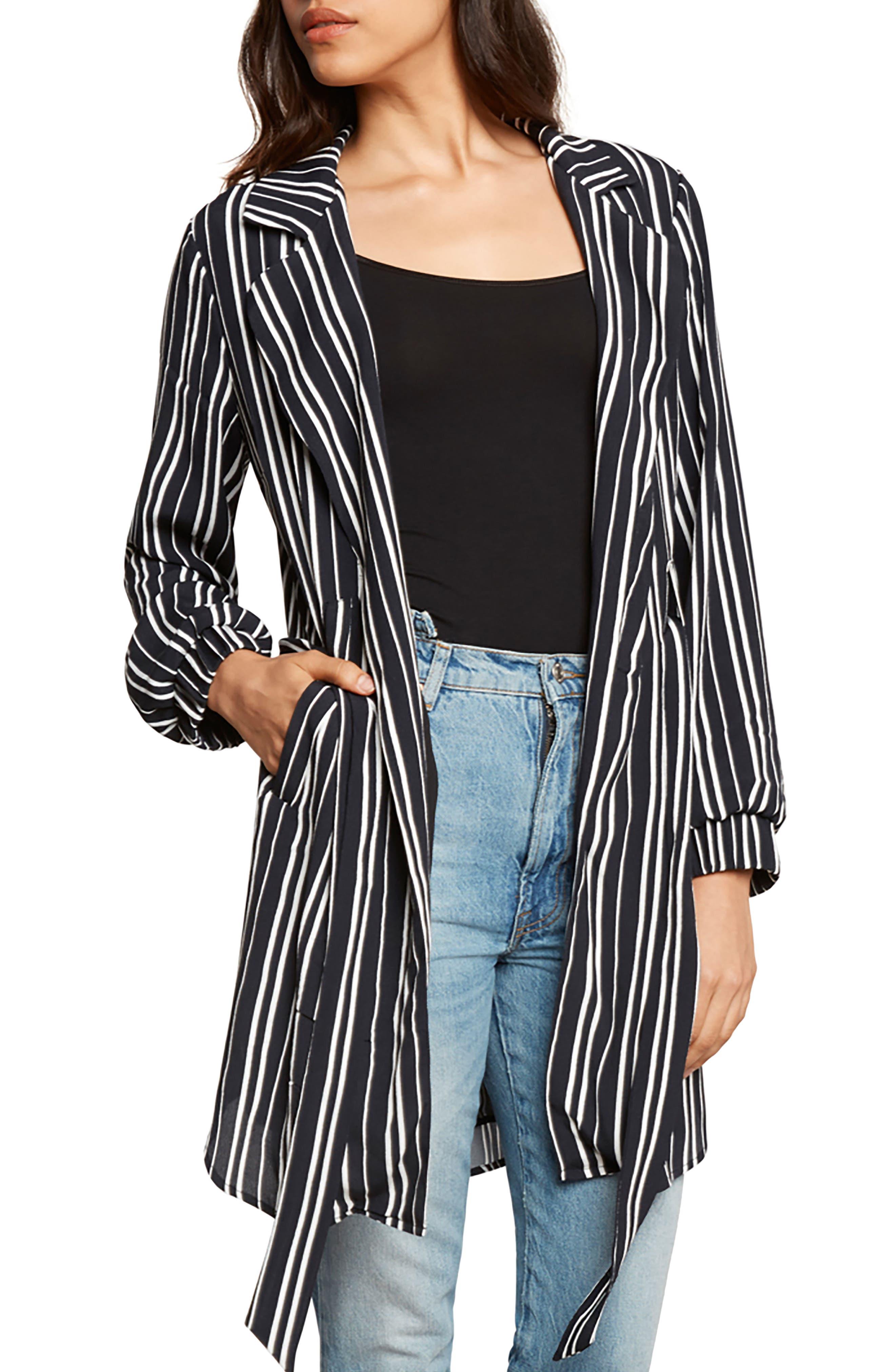 Stripe Blazer,                         Main,                         color, Black