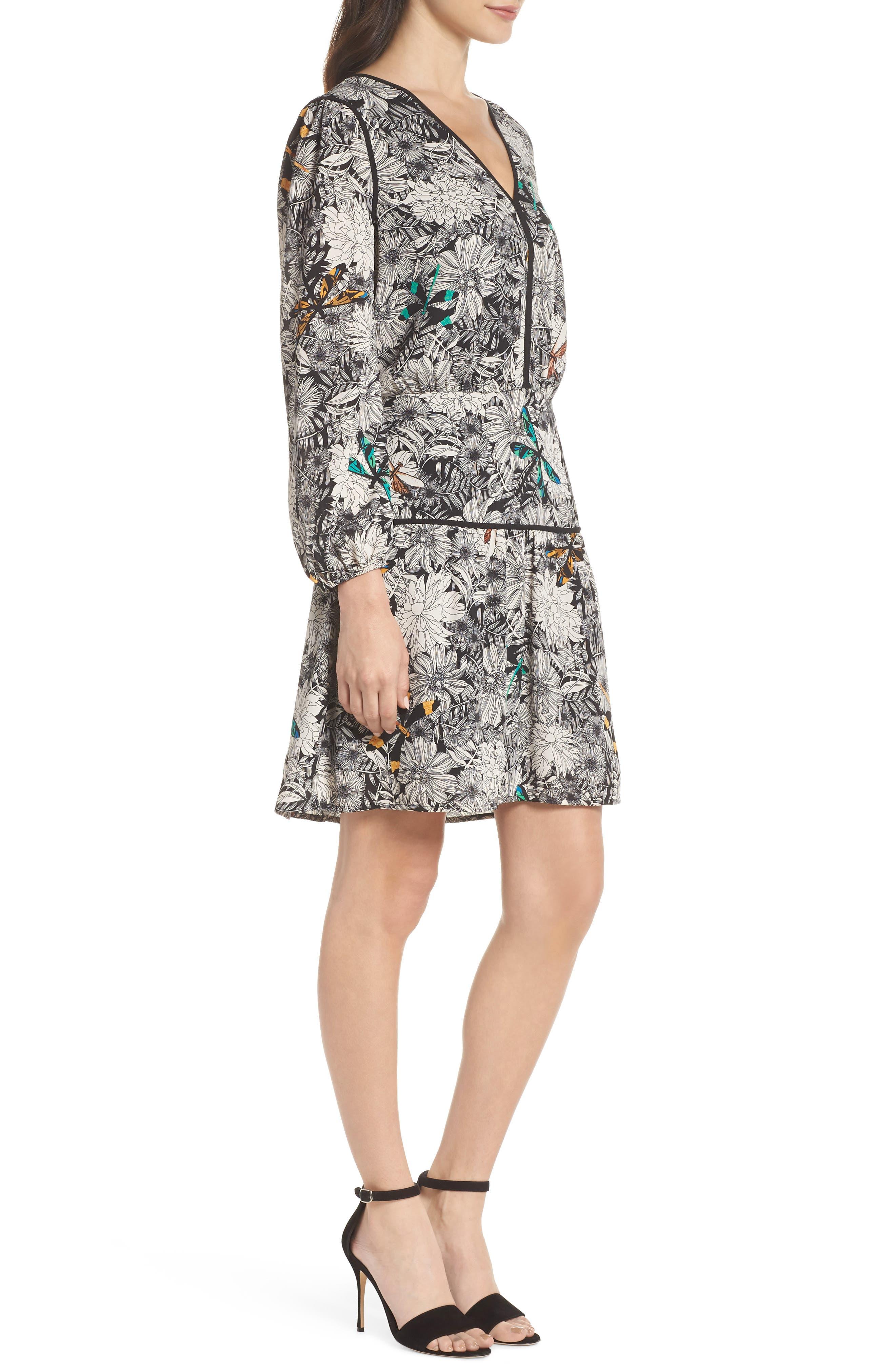 Print Blouson Dress,                             Alternate thumbnail 3, color,                             Black Multi