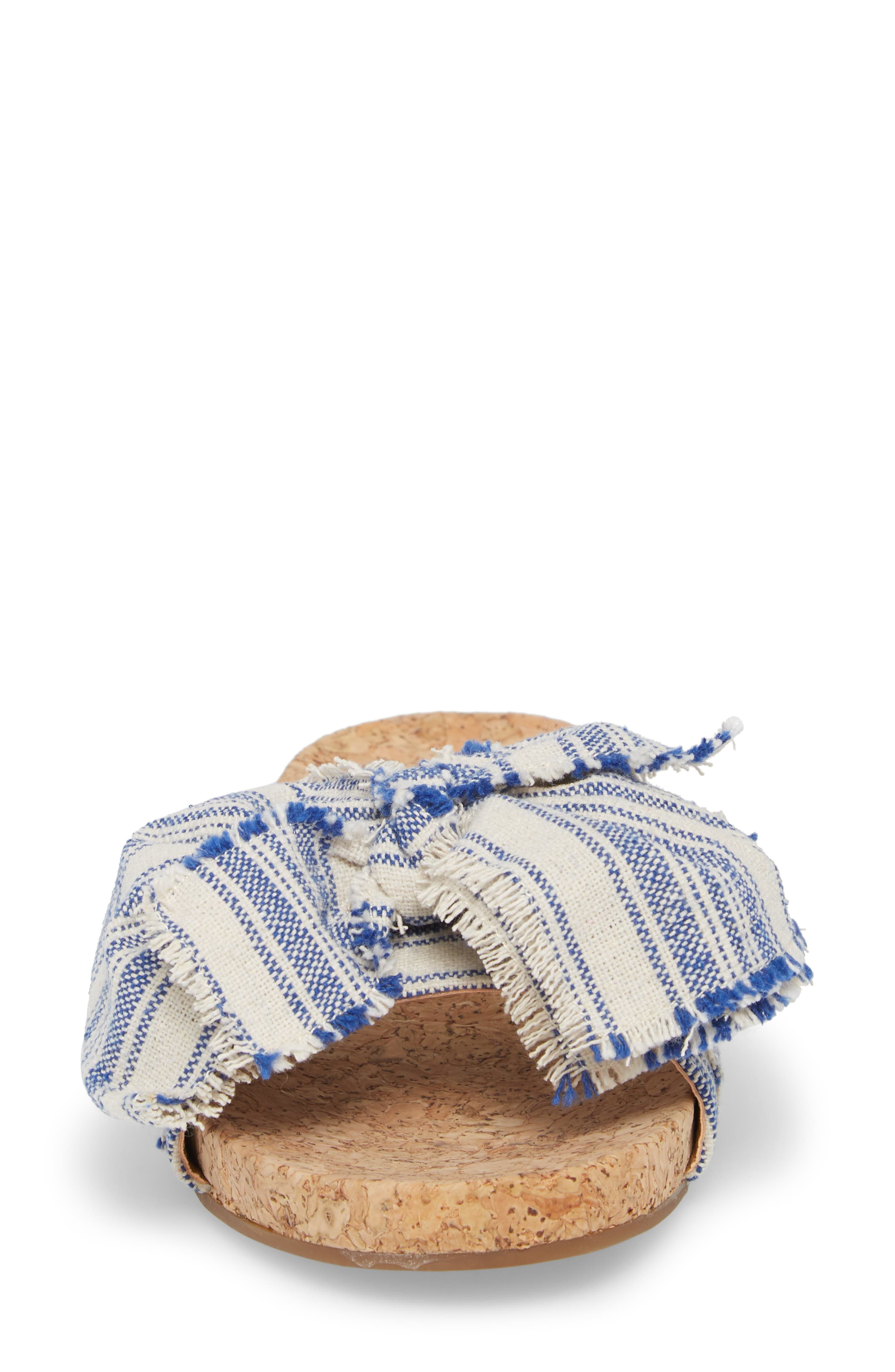Floella Bow Slide Sandal,                             Alternate thumbnail 4, color,                             Lapis Leather