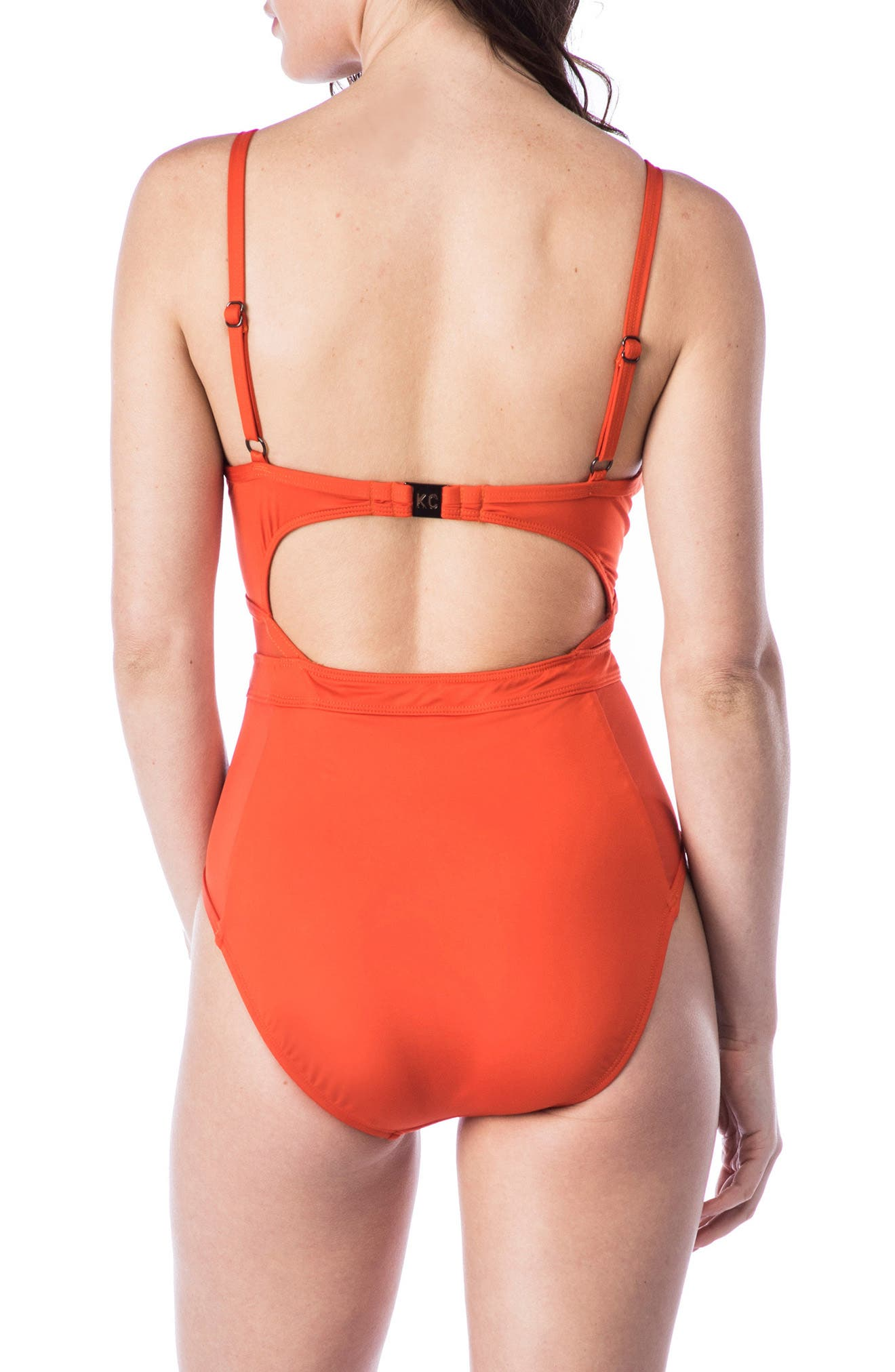 Push-Up One-Piece Swimsuit,                             Alternate thumbnail 2, color,                             Sienna