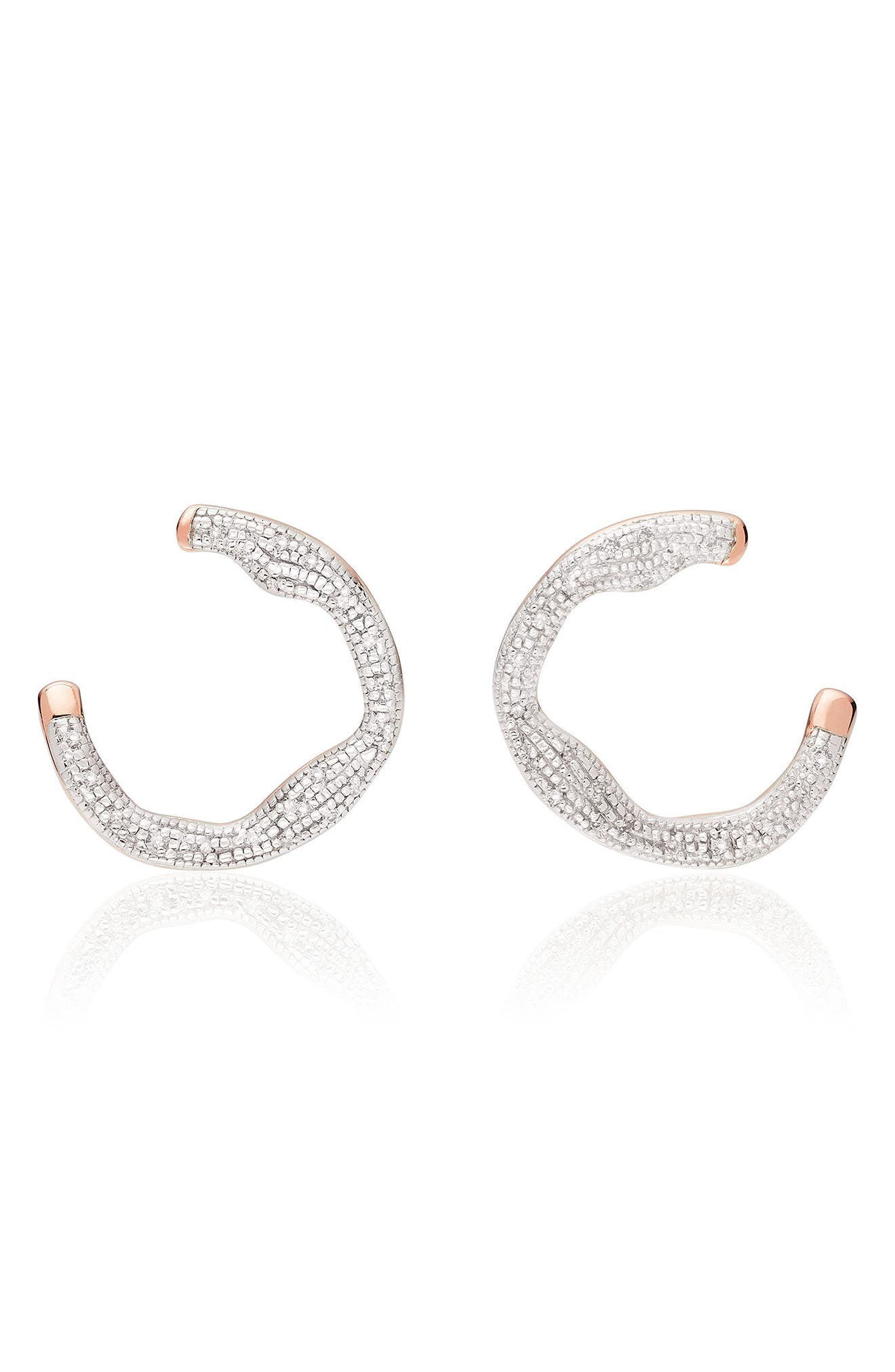 Riva Diamond Circle Wrap Earrings,                             Main thumbnail 1, color,                             Rose Gold