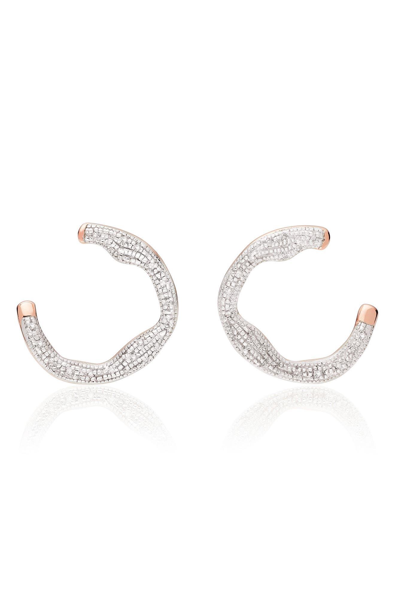 Riva Diamond Circle Wrap Earrings,                         Main,                         color, Rose Gold
