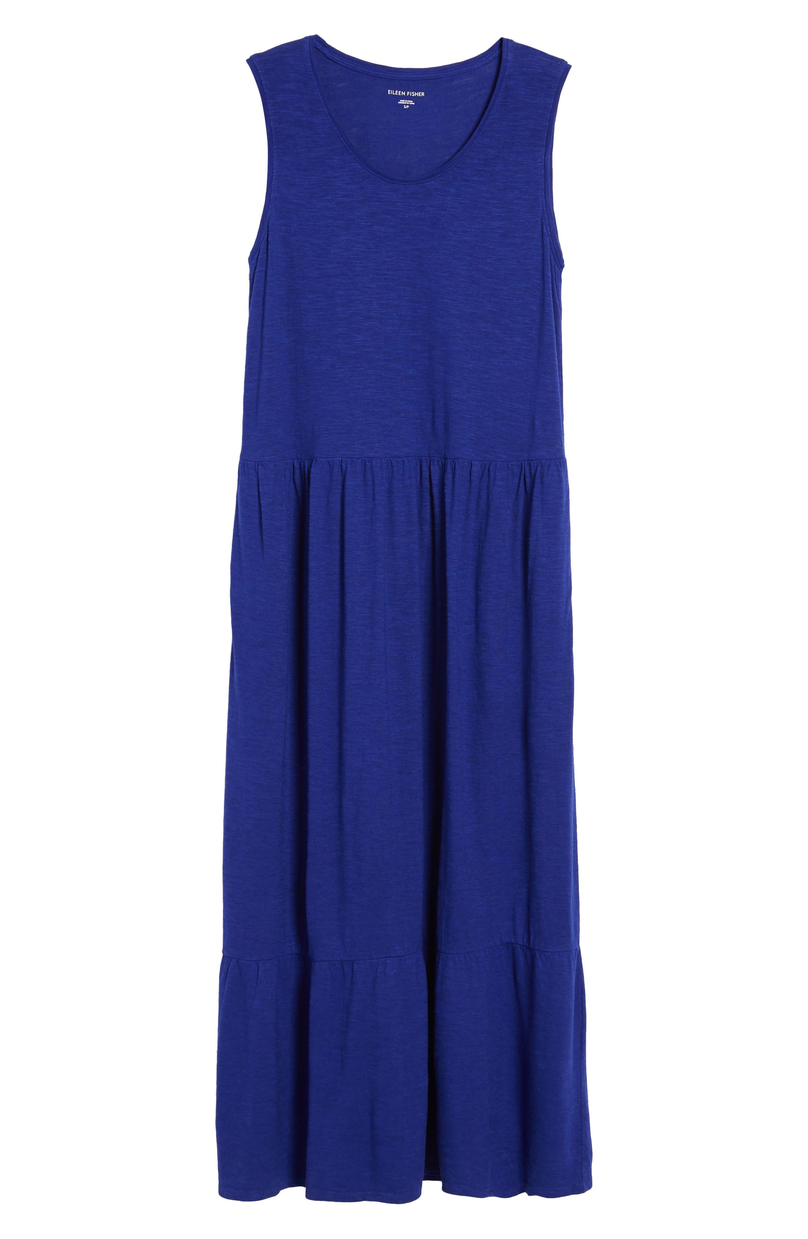 Scooped Neck Hemp & Cotton Midi Dress,                             Alternate thumbnail 6, color,                             Blue Violet