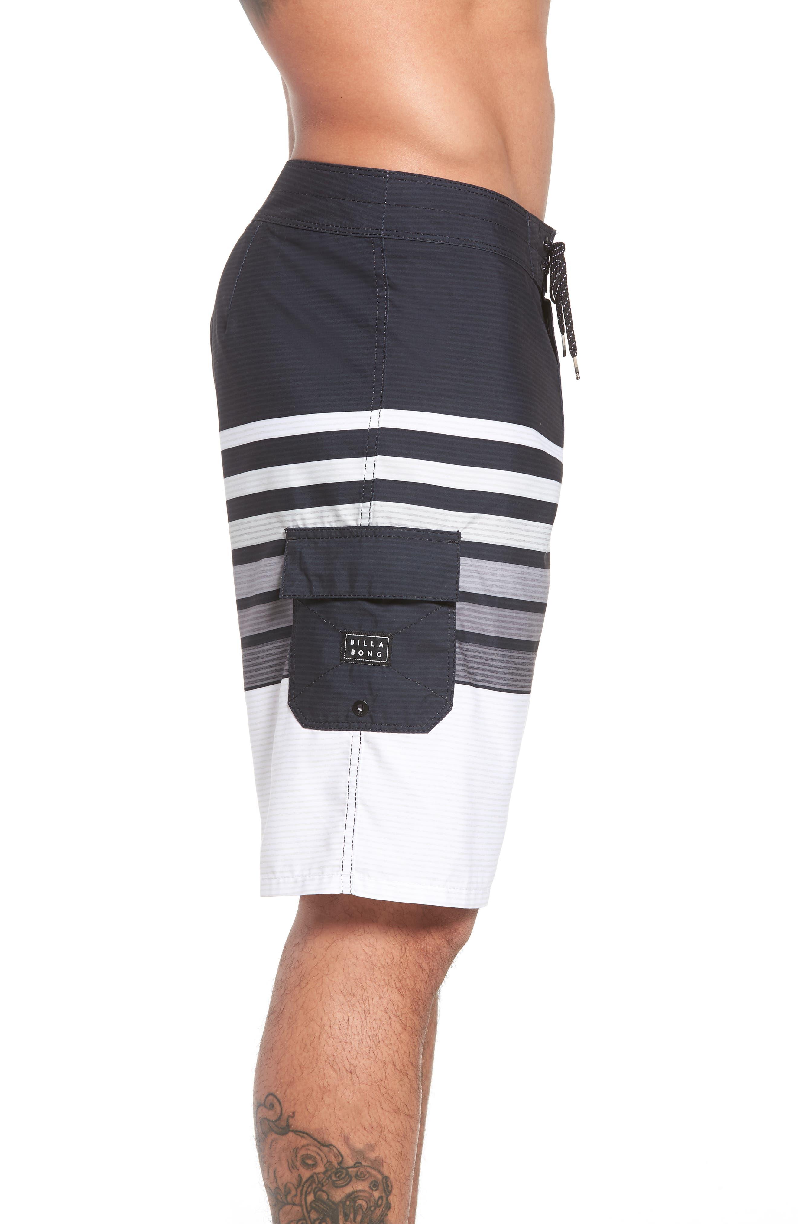 All Day OG Stripe Board Shorts,                             Alternate thumbnail 3, color,                             Black