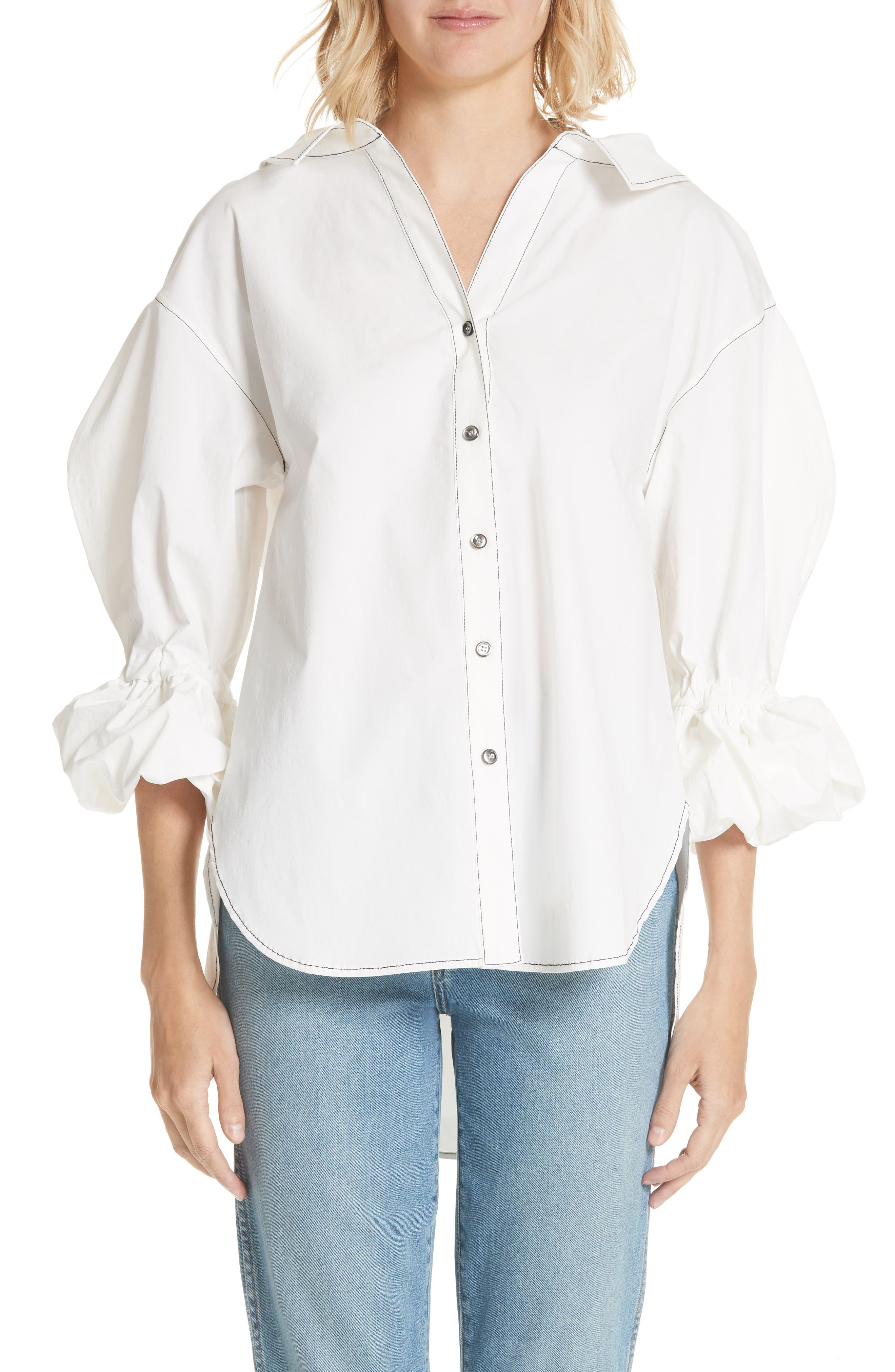 Amber Ruffle Sleeve Shirt,                         Main,                         color, Cotton White