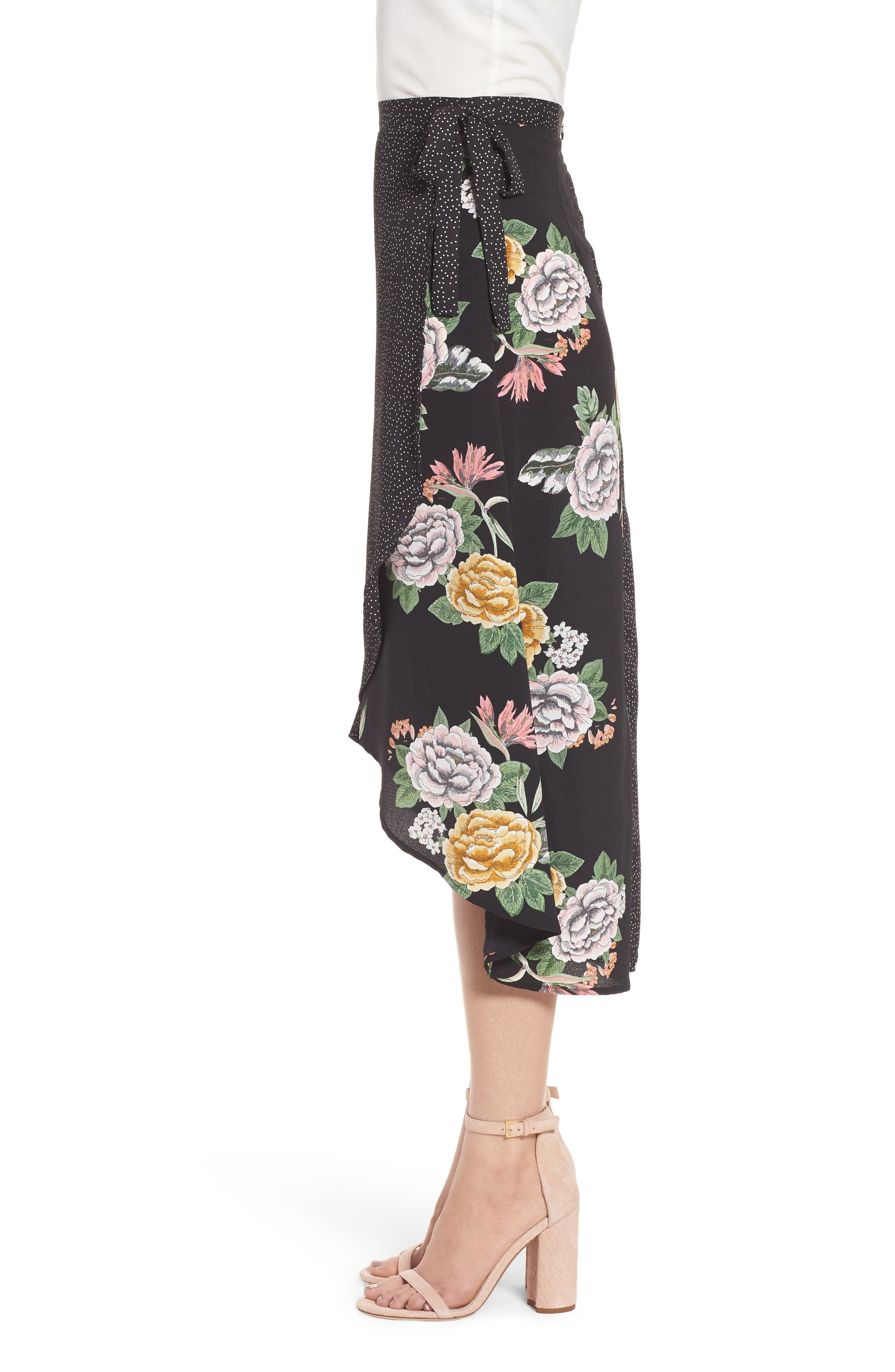 Bishop + Young Enchanted Garden Mix Media Skirt,                             Alternate thumbnail 3, color,                             Enchanted Garden Print