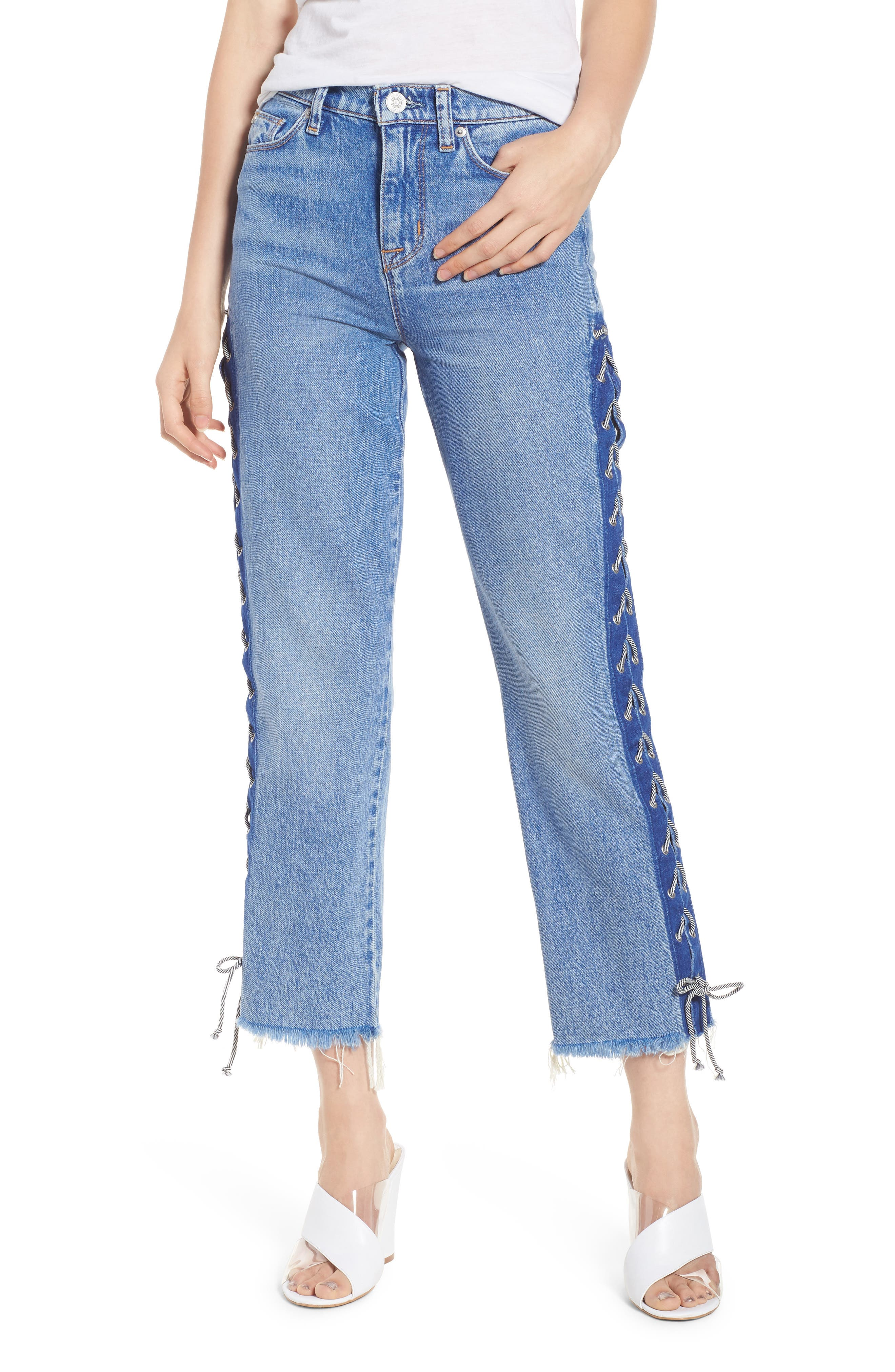 Zoeey High Waist Crop Straight Leg Jeans,                             Main thumbnail 1, color,                             High Spirits