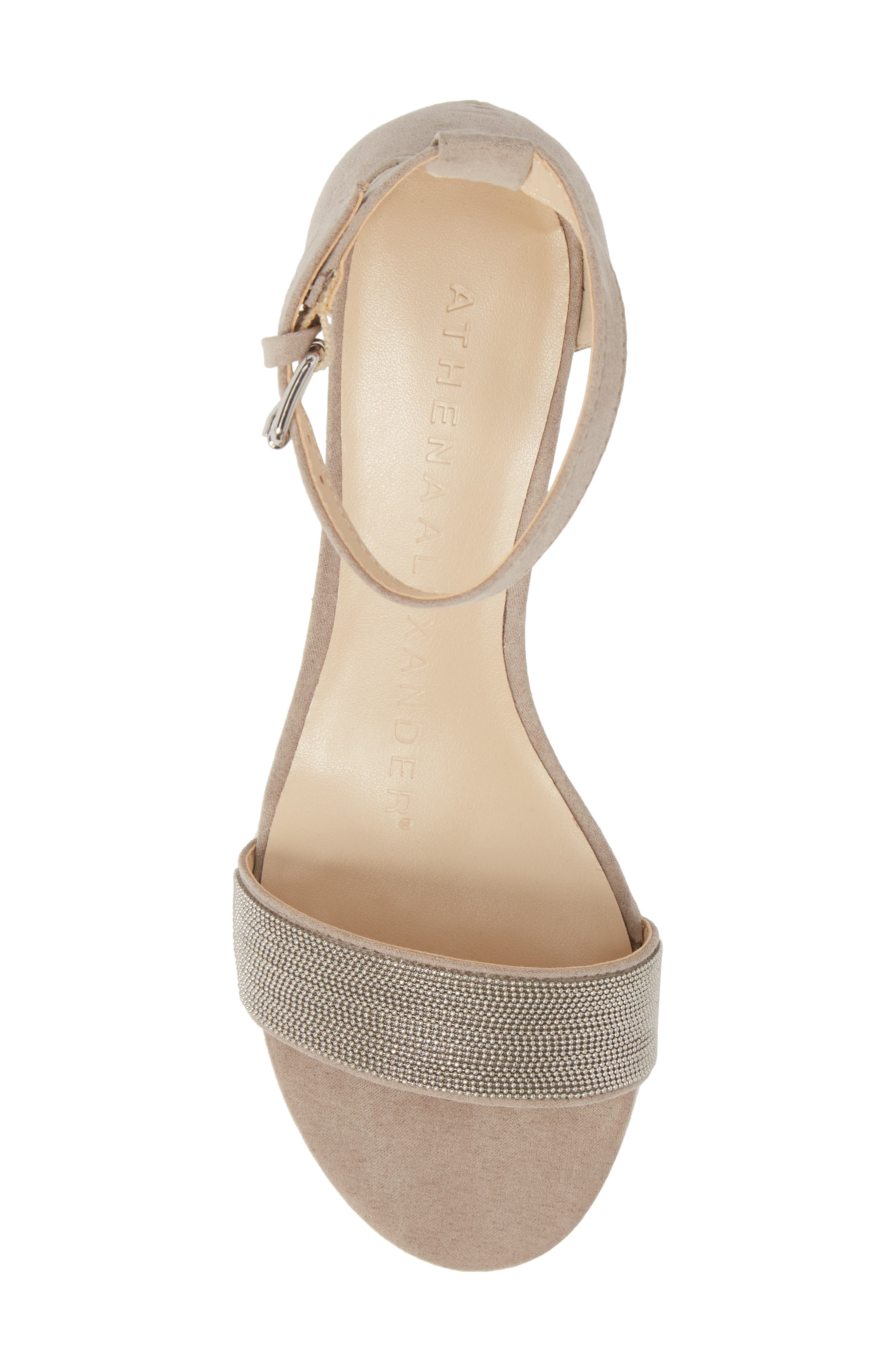 Enfield Ankle Strap Wedge Sandal,                             Alternate thumbnail 5, color,                             Taupe Suede