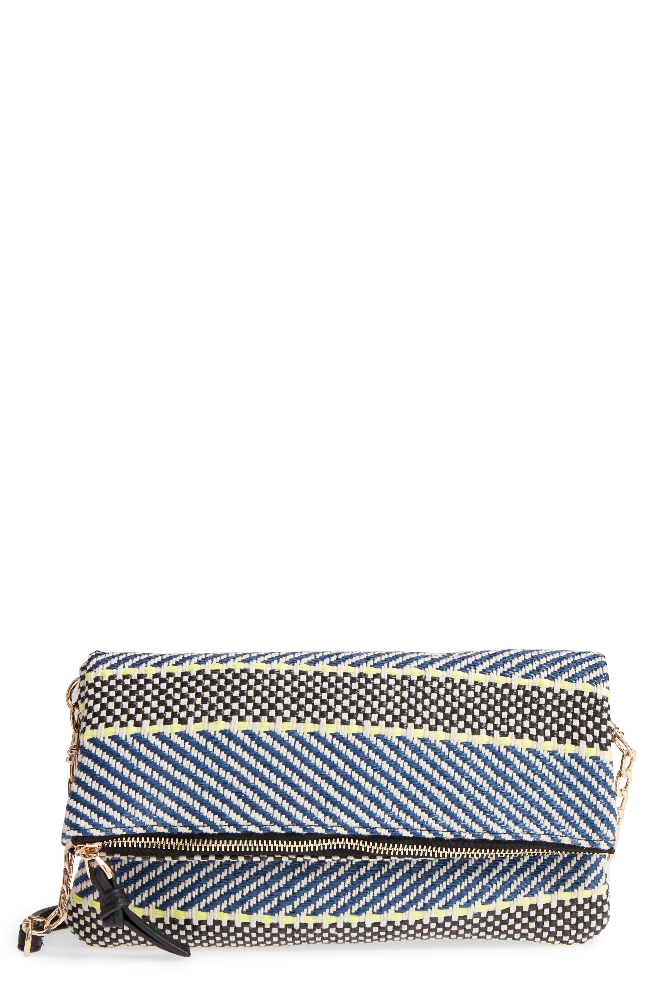 Medina Fabric Foldover Clutch,                             Main thumbnail 1, color,                             Navy/ Cream Combo