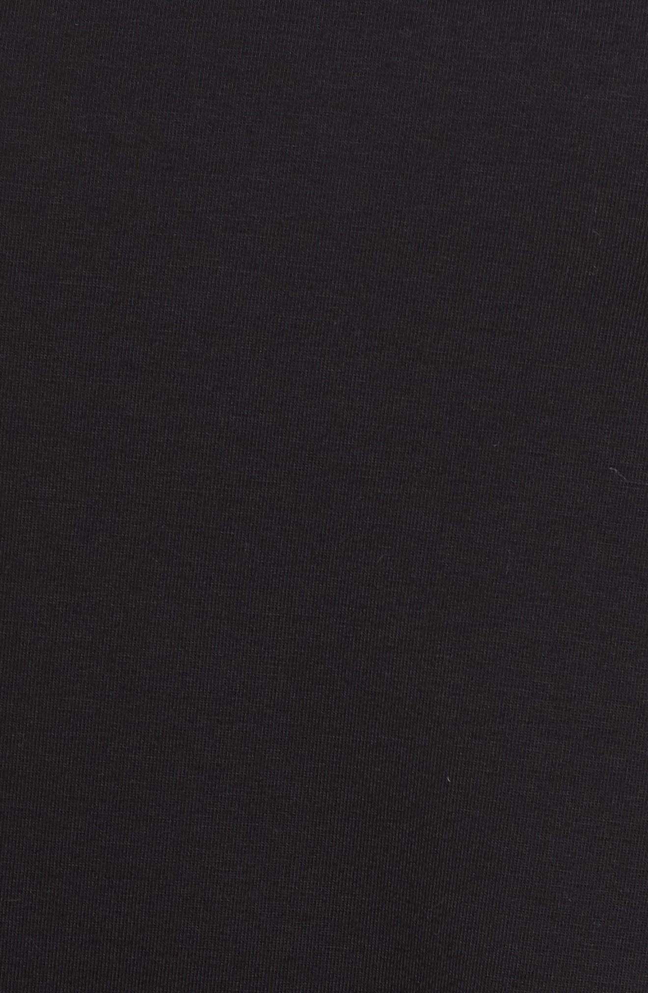 Stretch Organic Cotton Shift Dress,                             Alternate thumbnail 6, color,                             Black