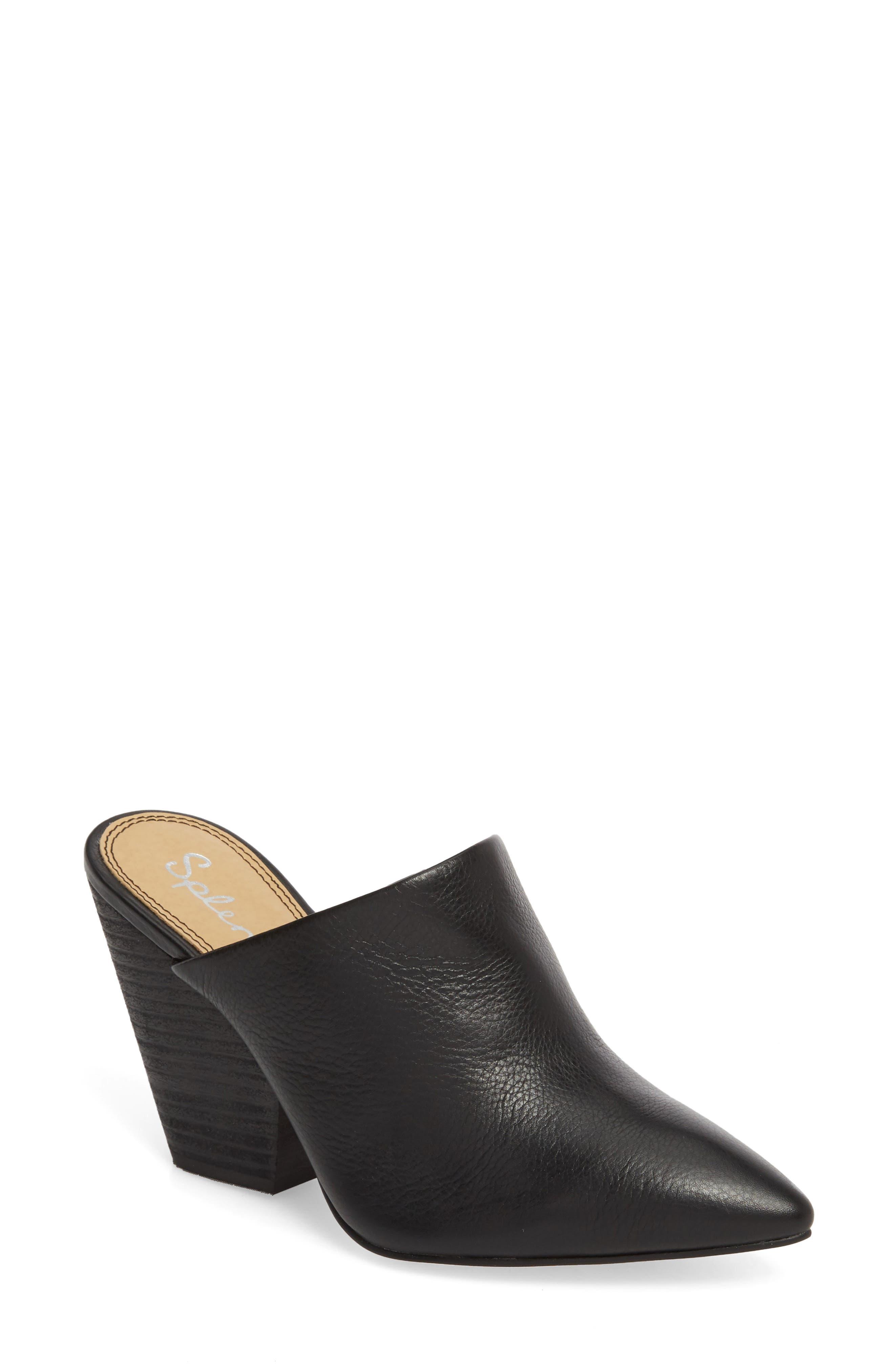 d9d9625299cd Splendid women nala pointed toe leather high heel mules in black jpg  780x838 High heel mules