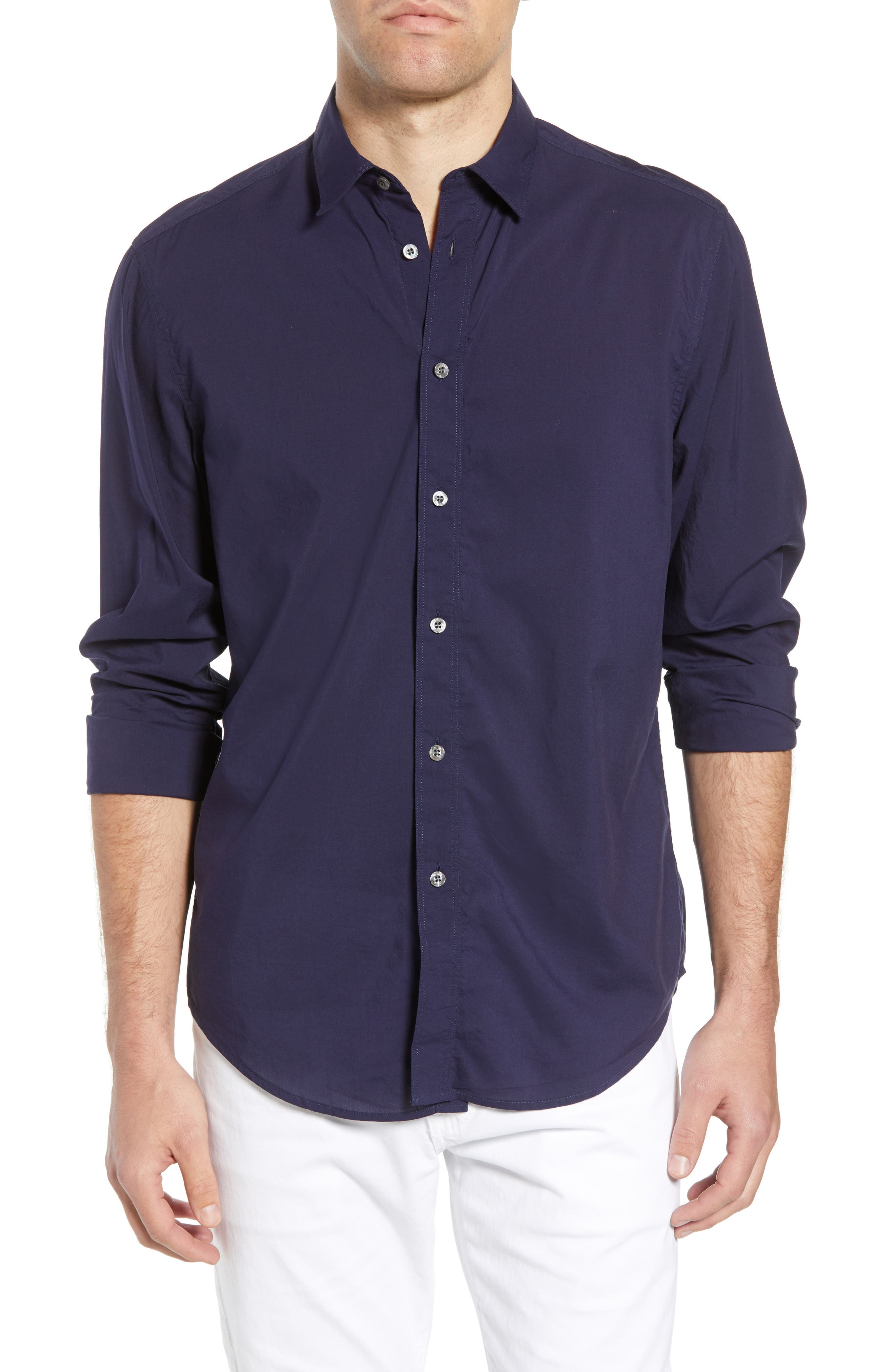 Pacifica Regular Fit Solid Sport Shirt,                         Main,                         color, Navy