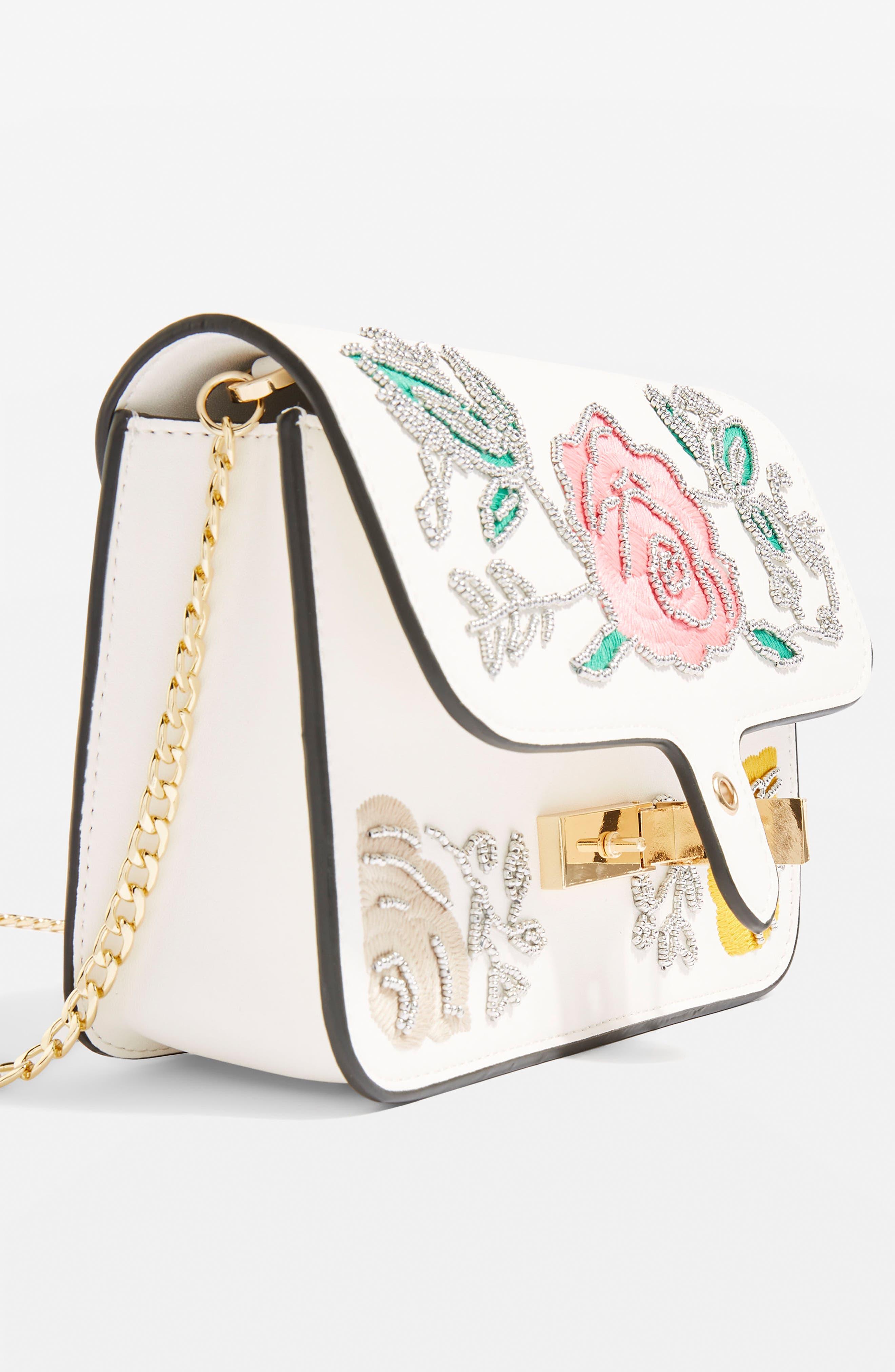 Lily Flower Bead Crossbody Bag,                             Alternate thumbnail 3, color,                             White Multi