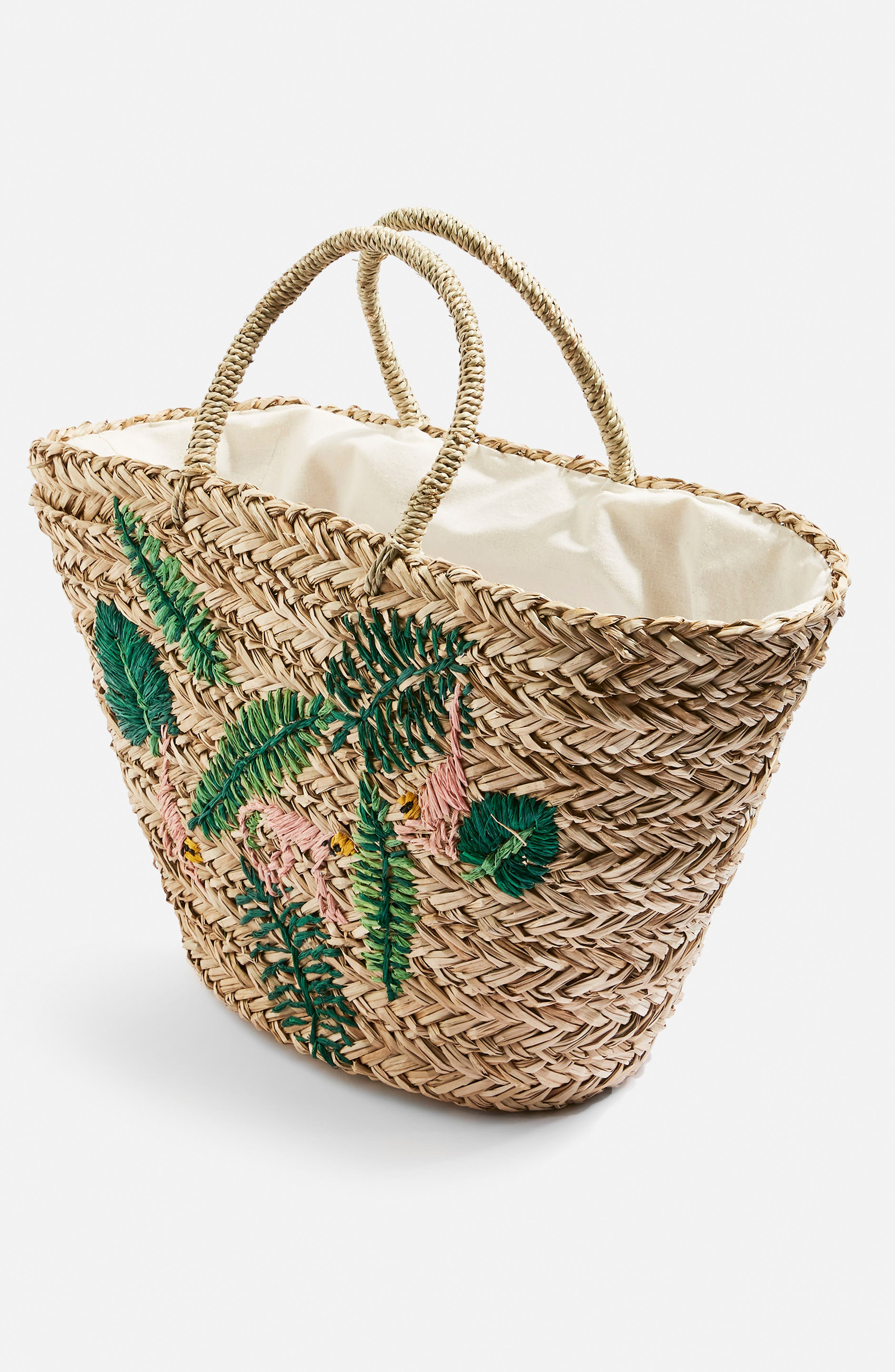 Barrio Monkey Embroidered Straw Tote Bag,                             Alternate thumbnail 4, color,                             Nude Multi