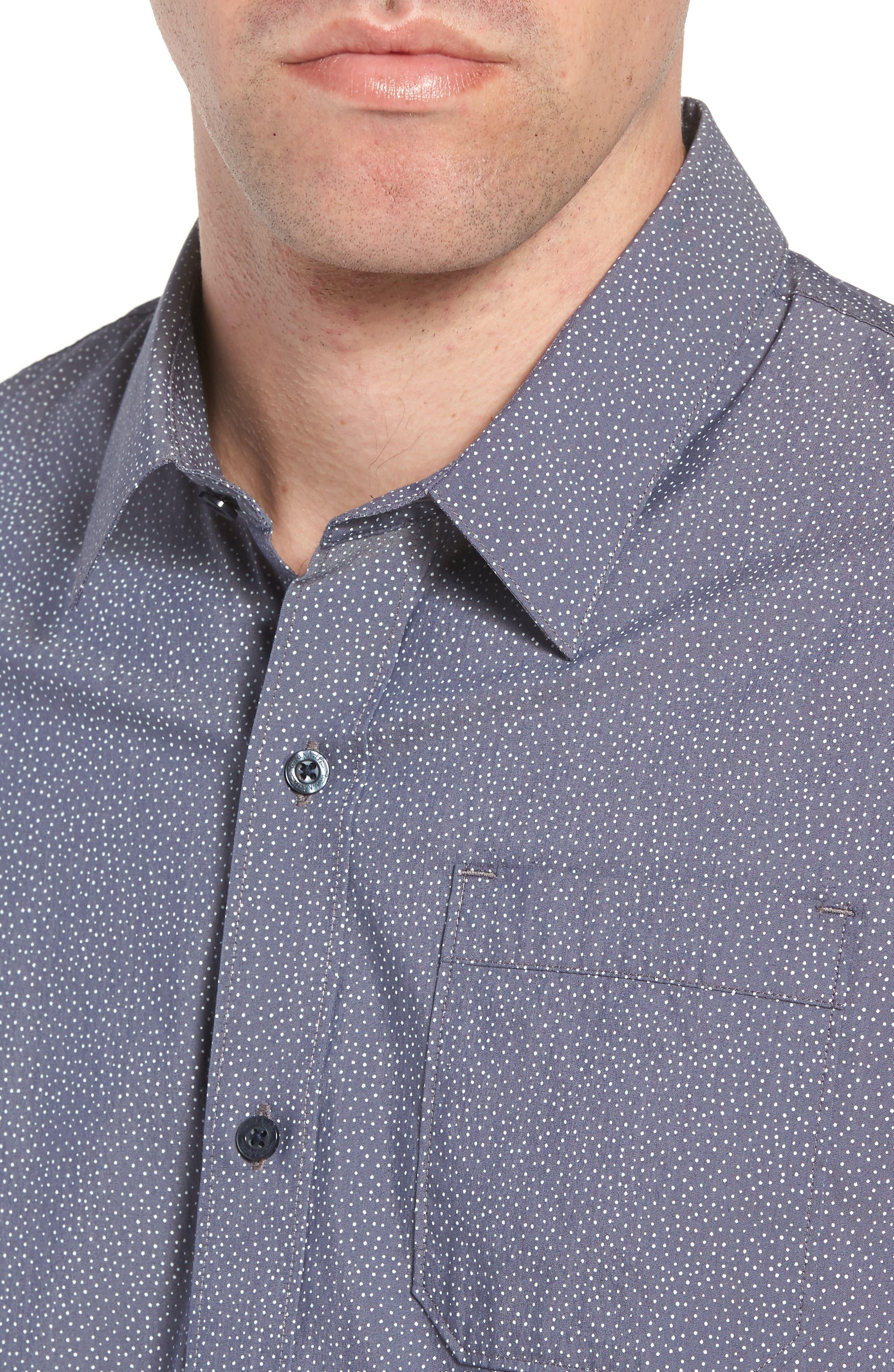 Particles Spot Print Sport Shirt,                             Alternate thumbnail 2, color,                             Blue Nights