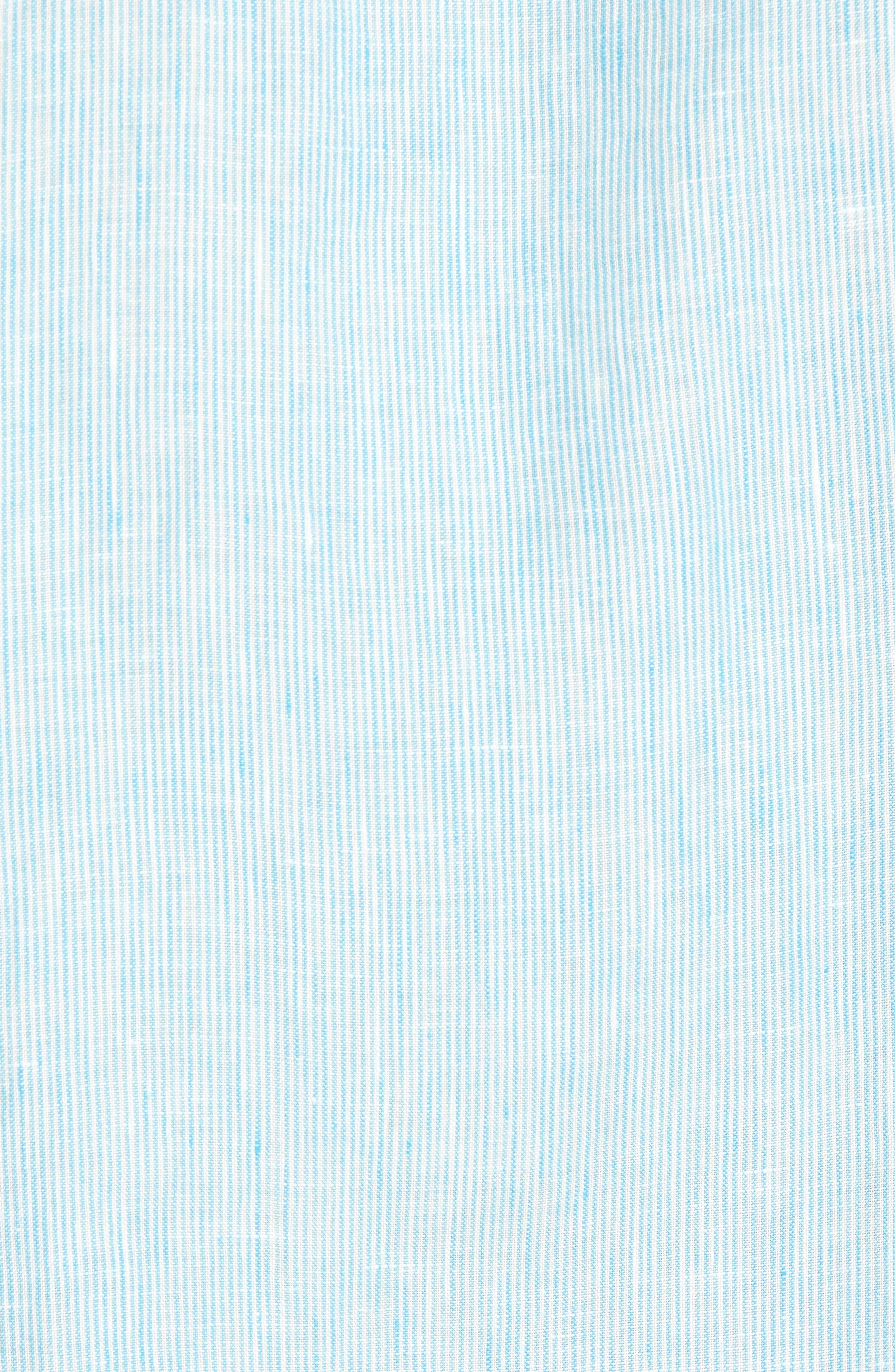 Willington Stripe Classic Fit Linen Sport Shirt,                             Alternate thumbnail 5, color,                             Pool Blue