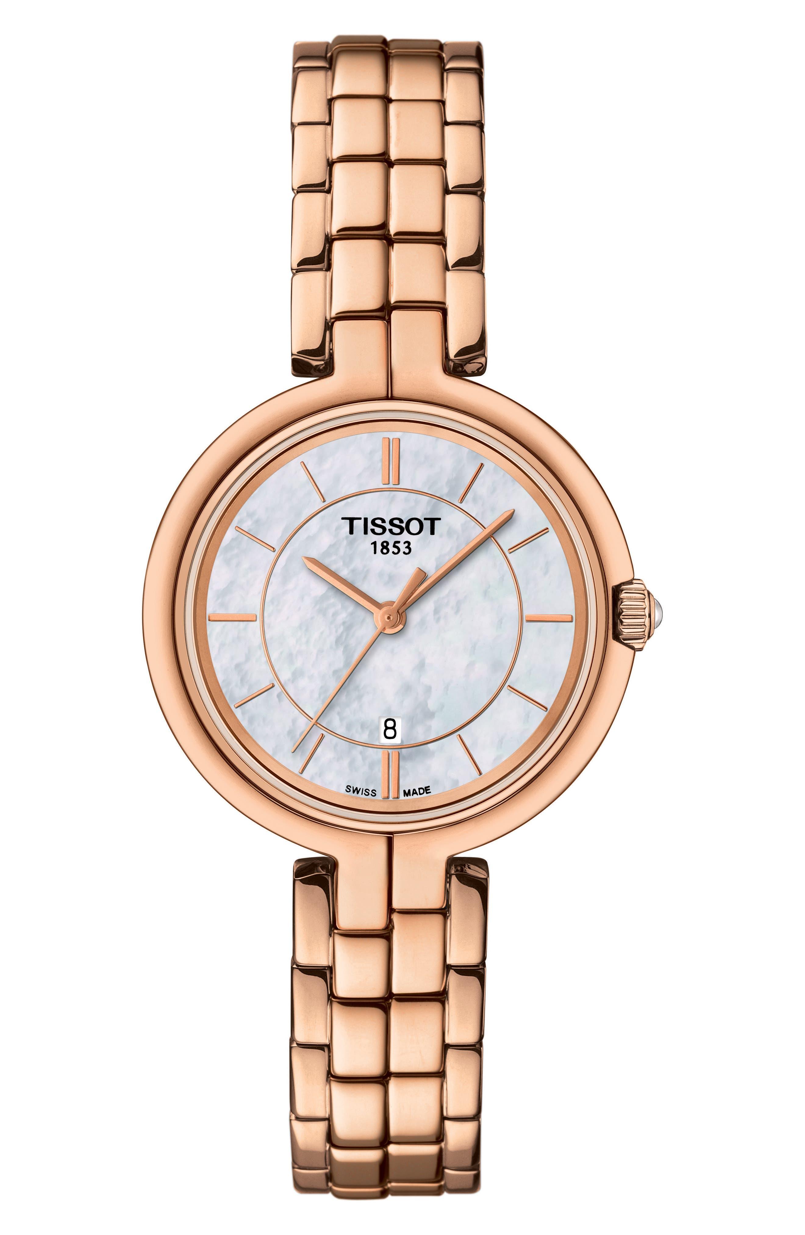 Flamingo Bracelet Watch, 26mm,                             Main thumbnail 1, color,                             Rose Gold/ Mop/ Rose Gold