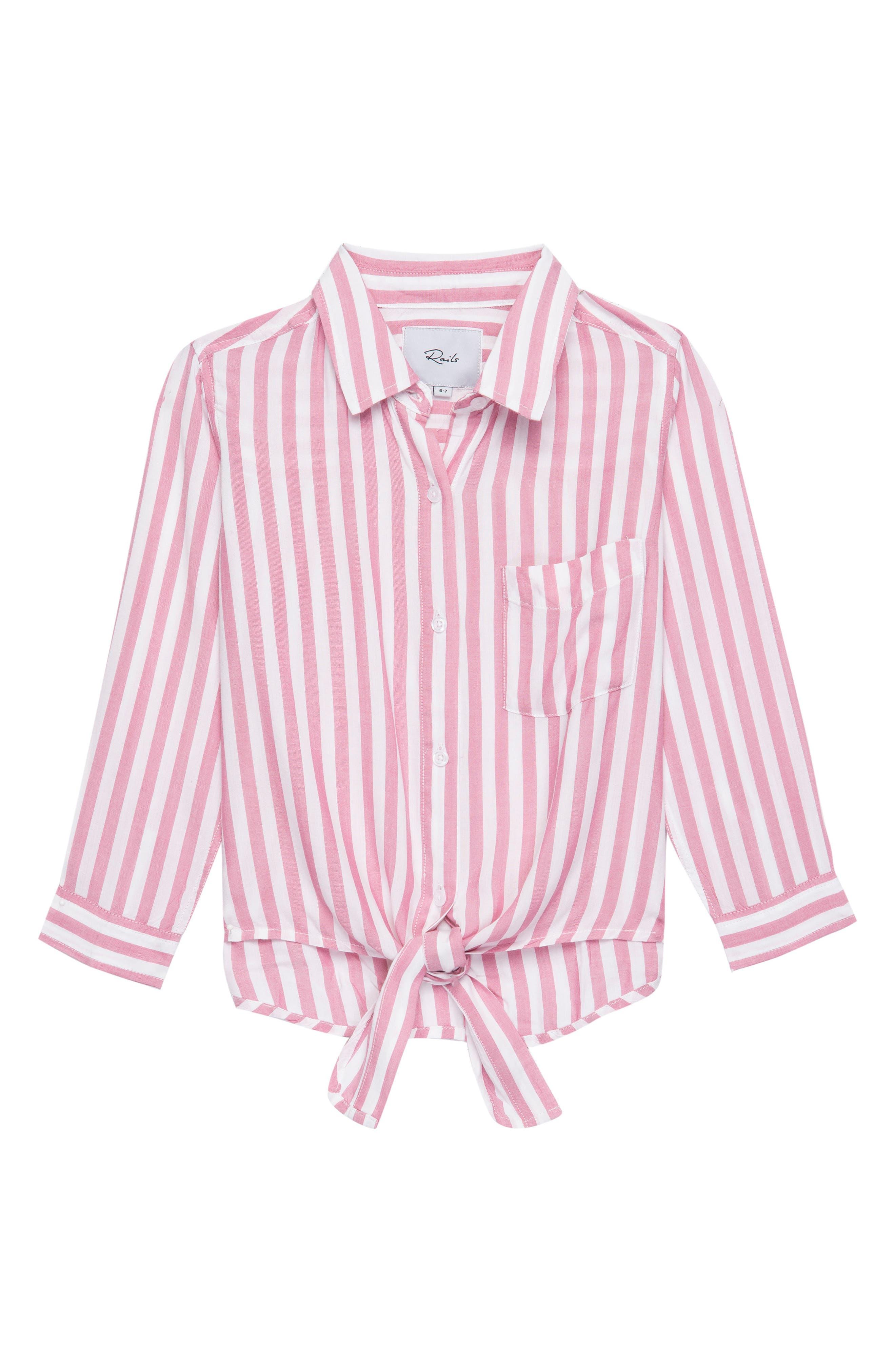 Valerie Stripe Tie Front Shirt,                         Main,                         color, Garnet White