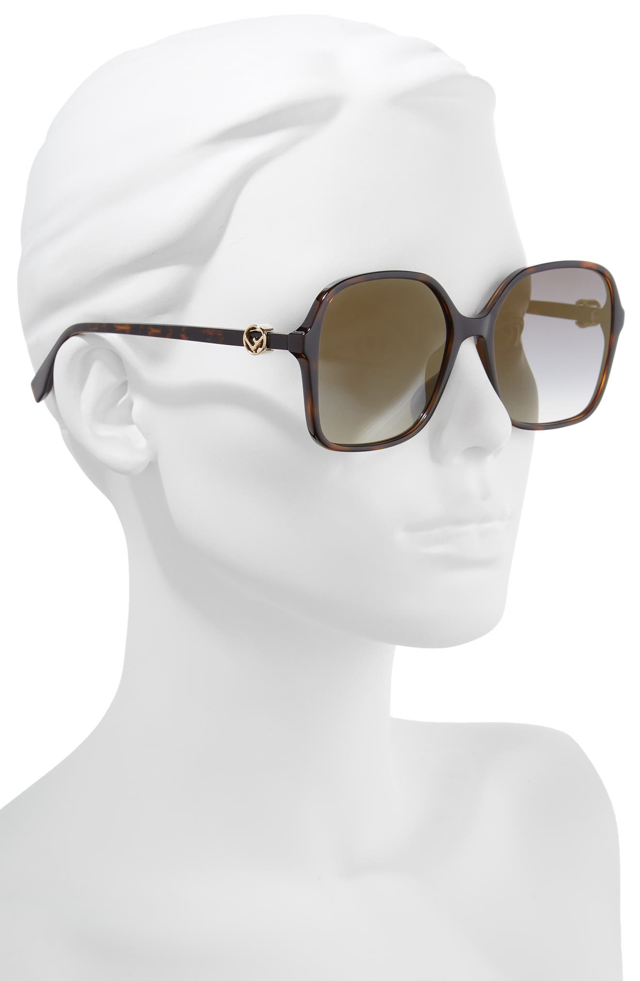 58mm Square Sunglasses,                             Alternate thumbnail 2, color,                             Dark Havana